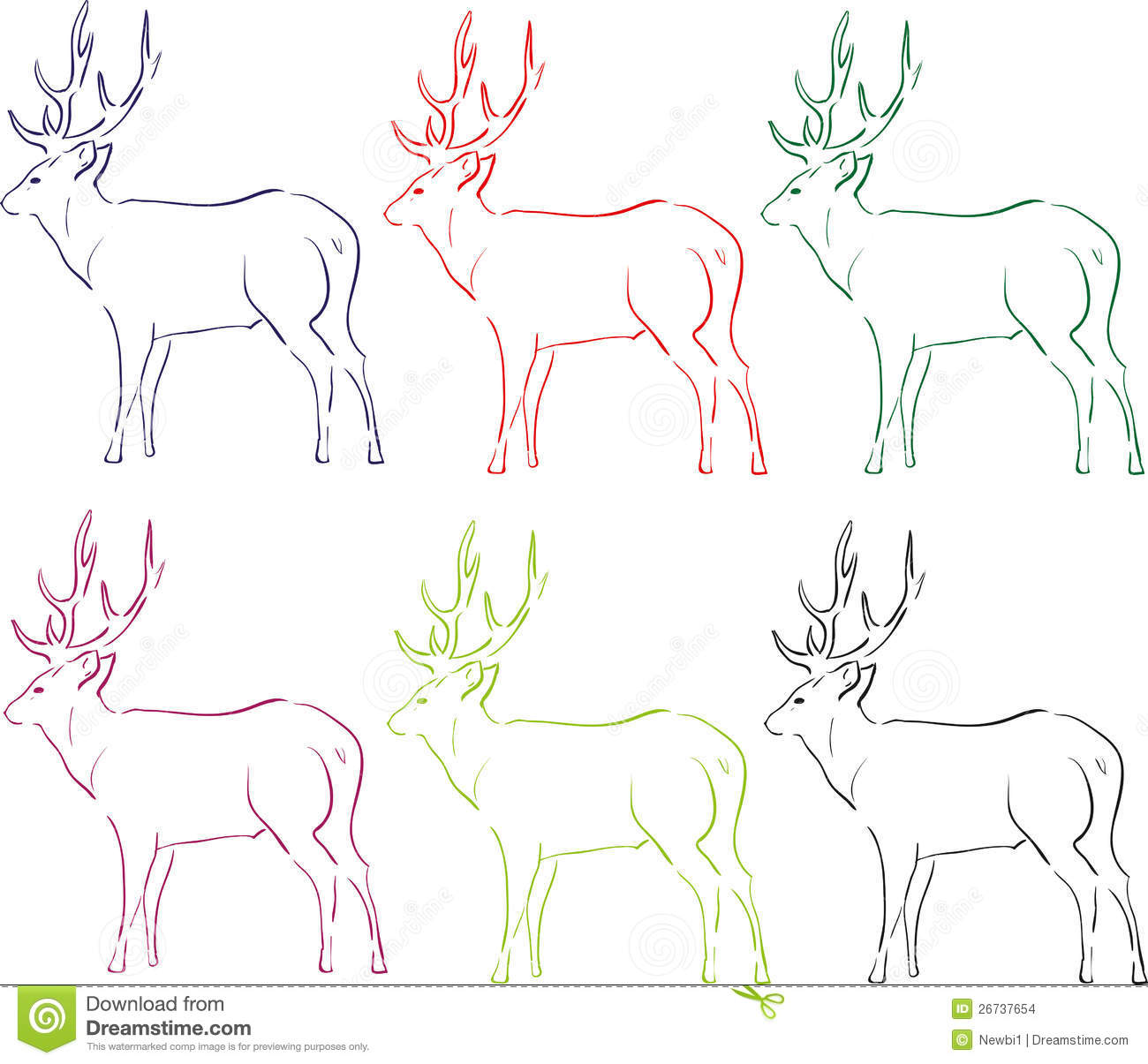 Deer Contour Line Drawing : Illustration of deer stock images image