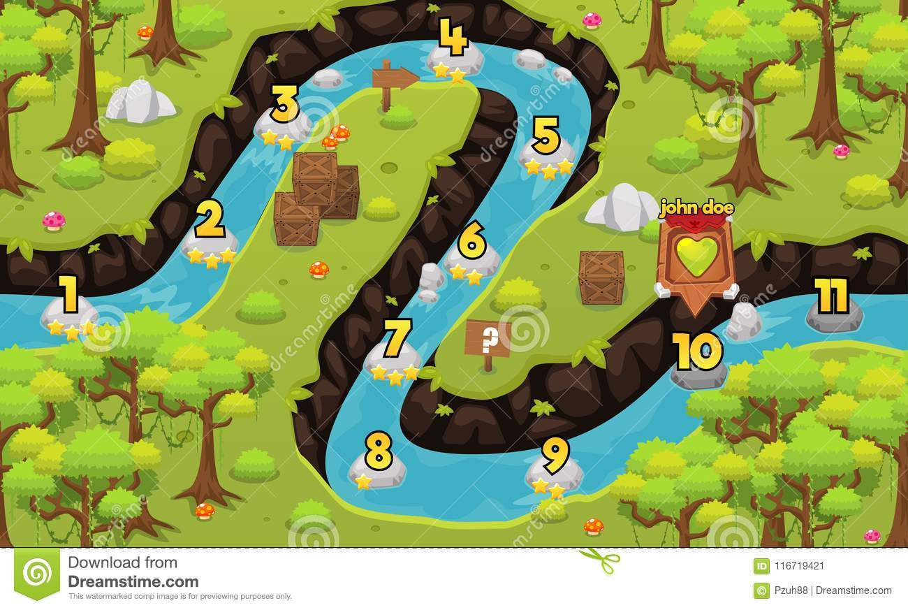 Jungle And River Game Level Map Stock Vector - Illustration of ... on