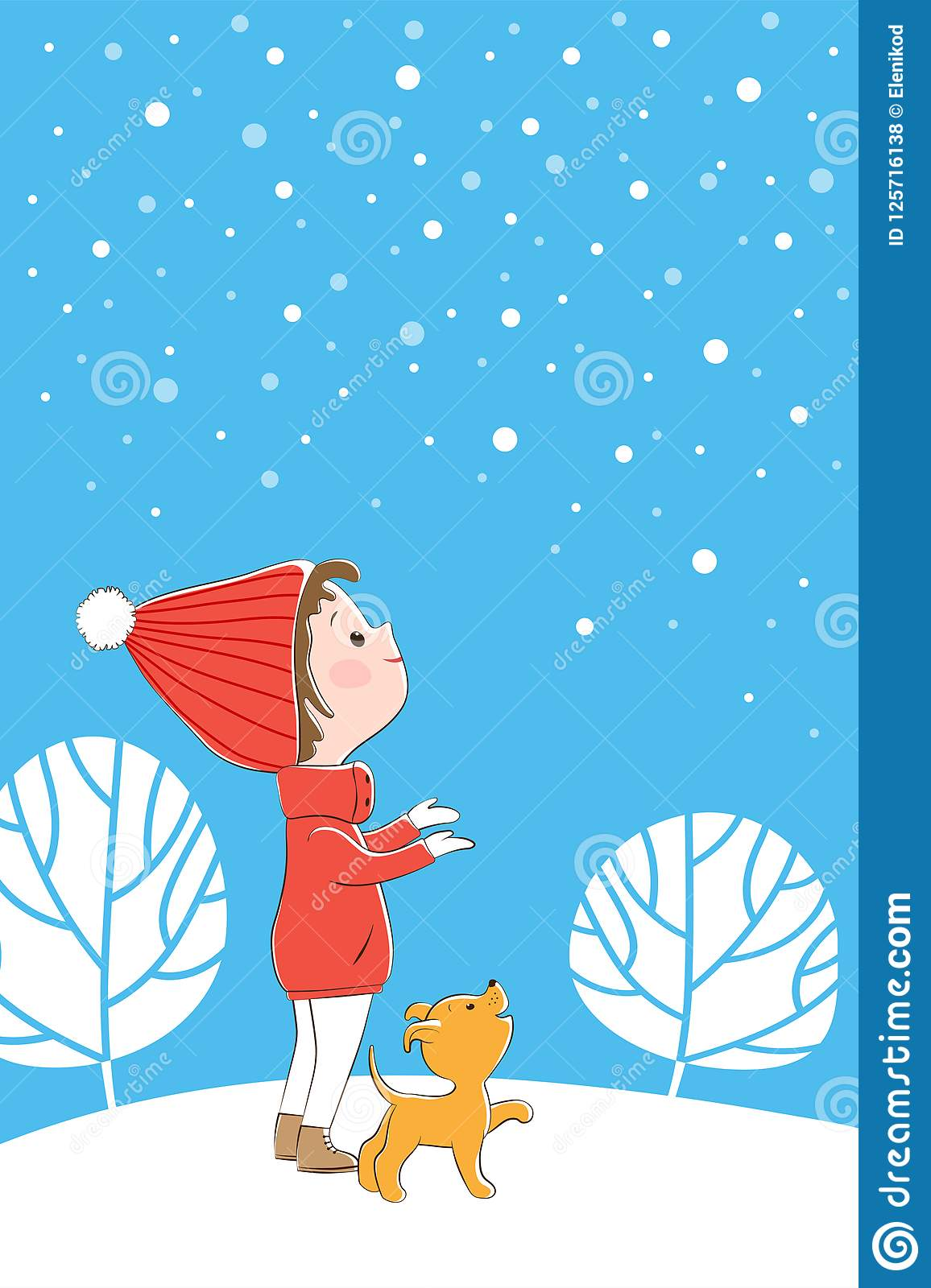 Illustration With A Little Girl And A Puppy Looking At Snowflakes ...