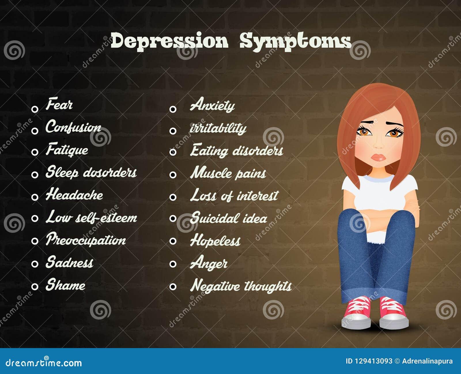 illustration of depression symptoms stock illustration