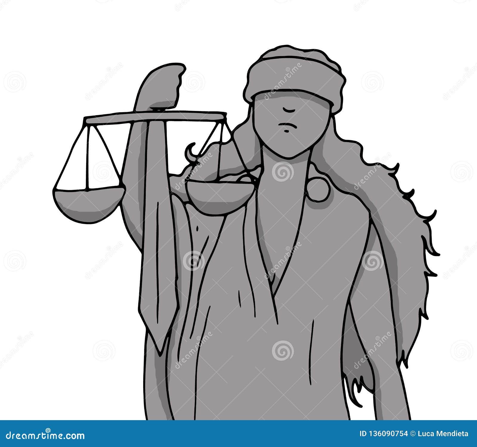 Illustration der Göttin von Gerechtigkeit mit dem Symbol der Balance und der Klinge gehalten mit ihrer Hand, während sie die Auge