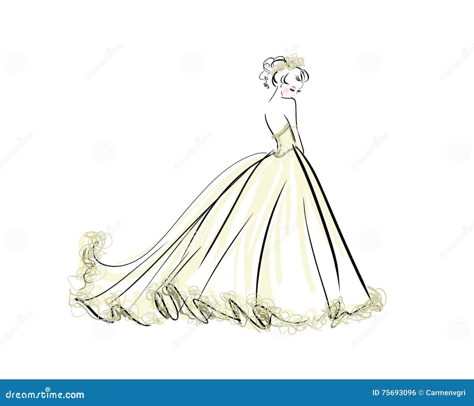 Illustration Der Schönheit Im Brautkleid Stock Abbildung ...