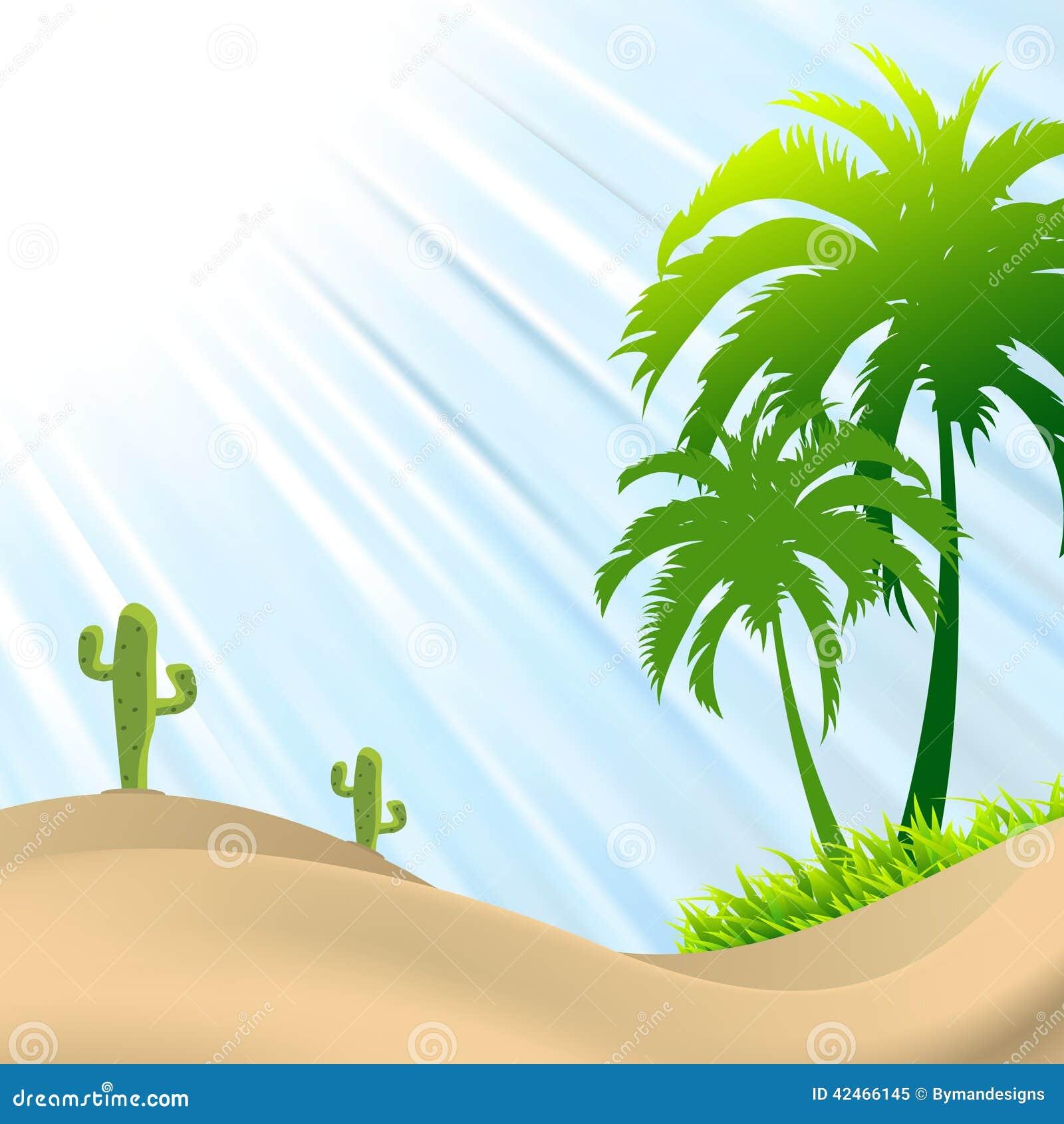 Illustration der Wüstenszene mit Palme, Kaktus, Sanddünen