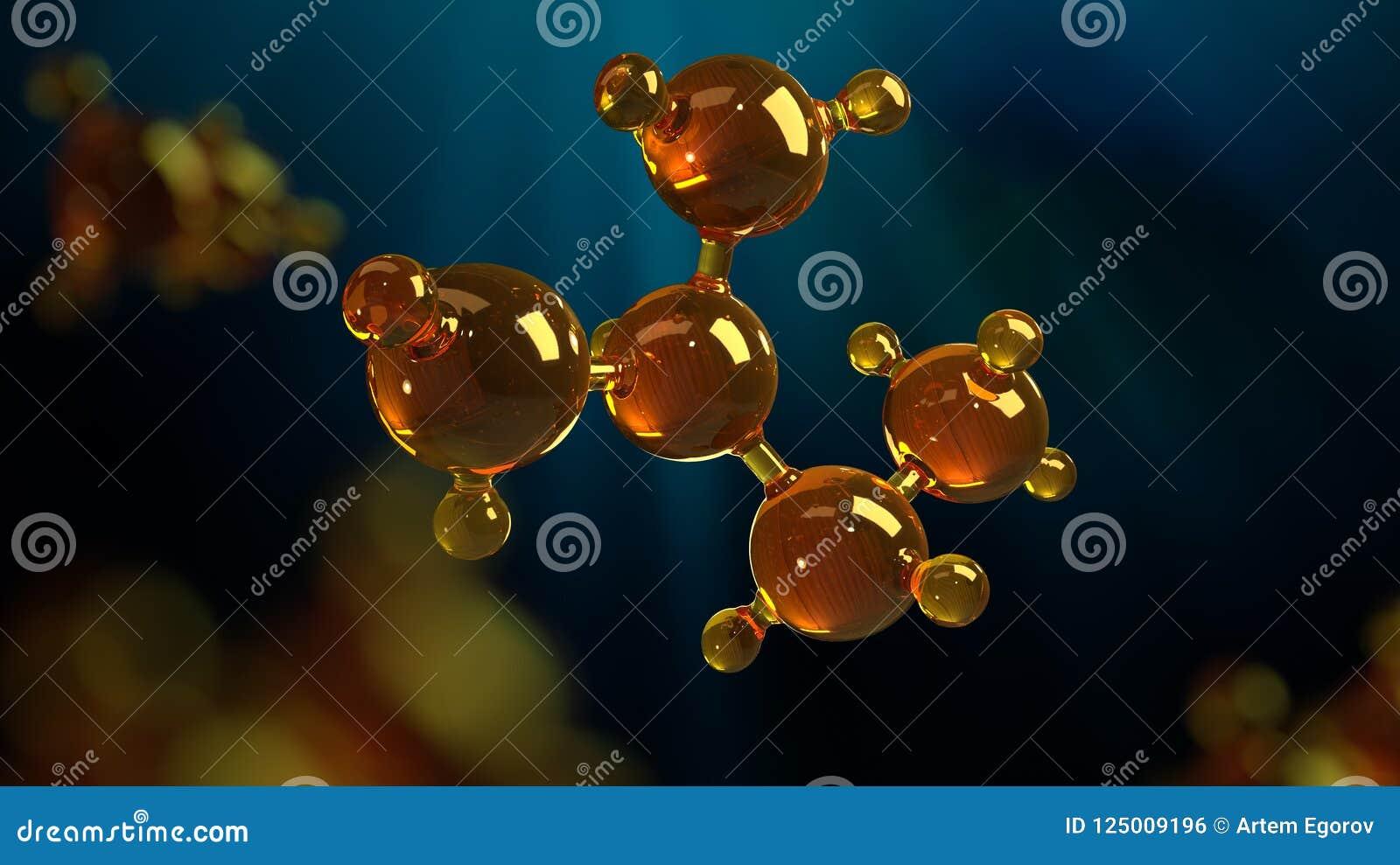 Illustration der Wiedergabe 3d des Glasmolekülmodells Molekül des Öls Konzept des Strukturmodellmotorenöls oder -gases