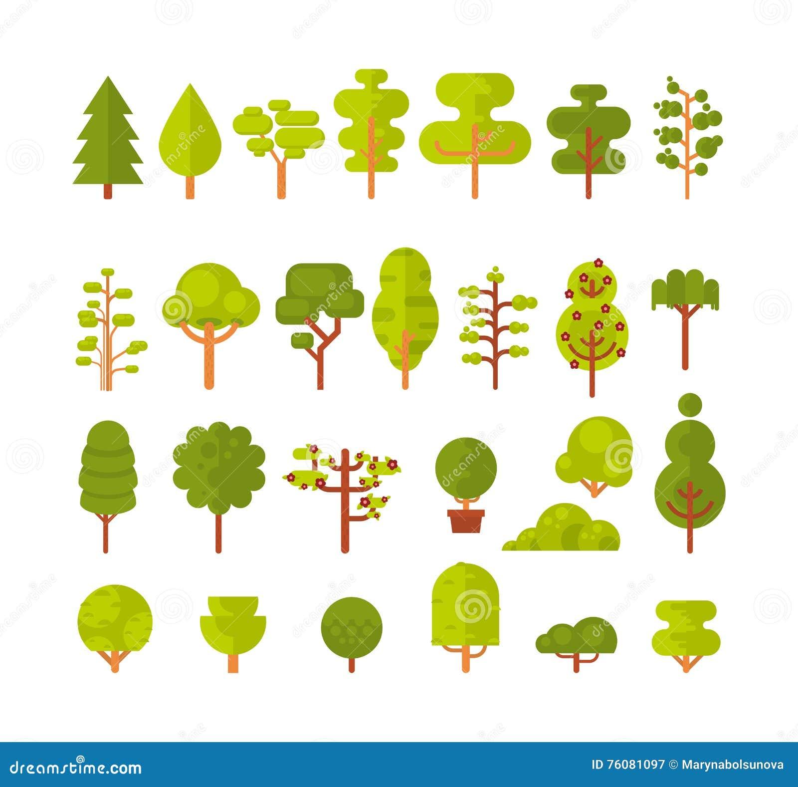 Illustration des arbres et des arbustes d un ensemble sur le fond blanc dans le style plat