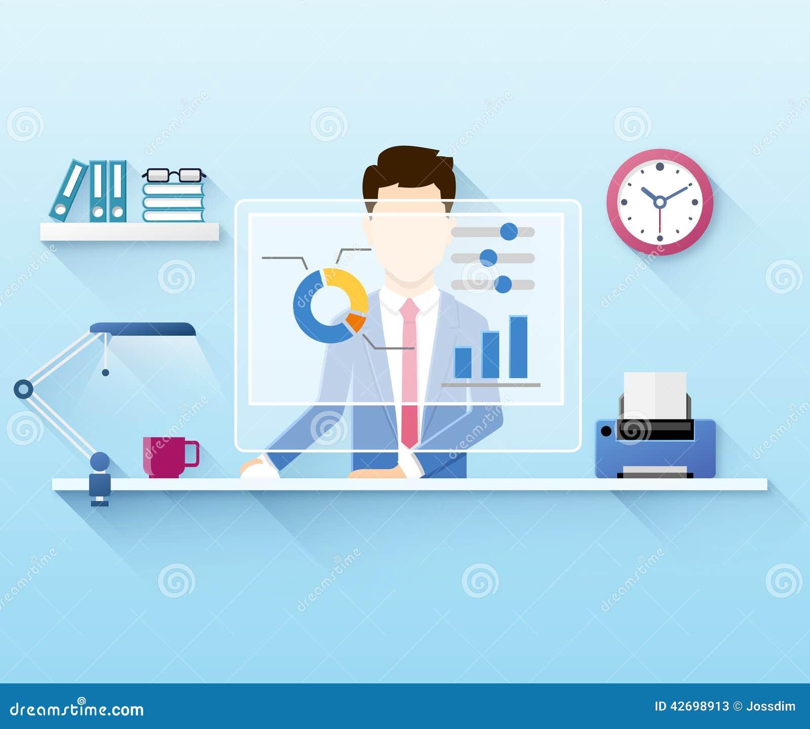 Illustration des Büroangestellten, der Computer verwendet