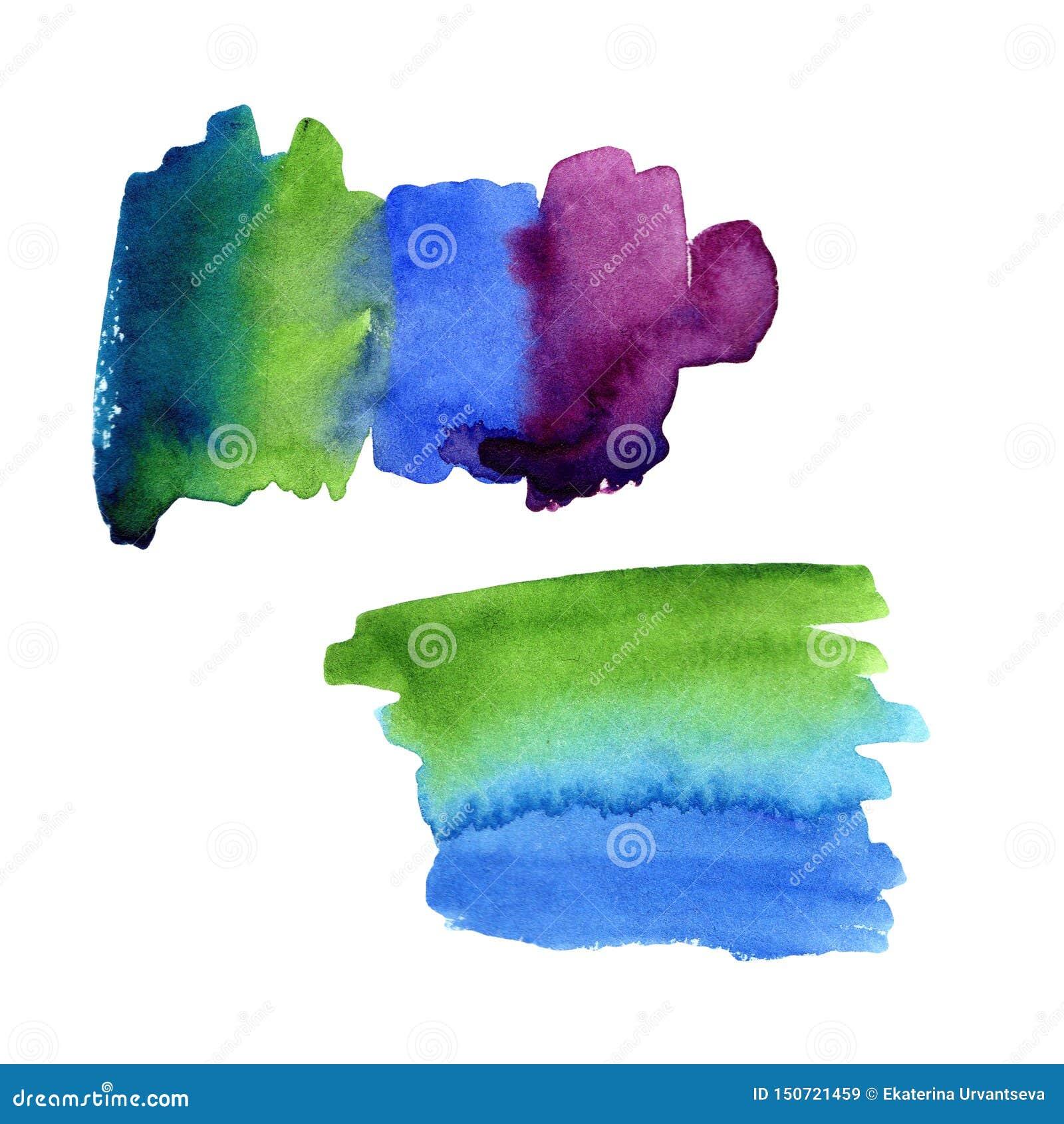 Illustration des calomnies de tache d aquarelle de vert-bleu à pourpre Place pour le texte pour la conception, cartes, cadres