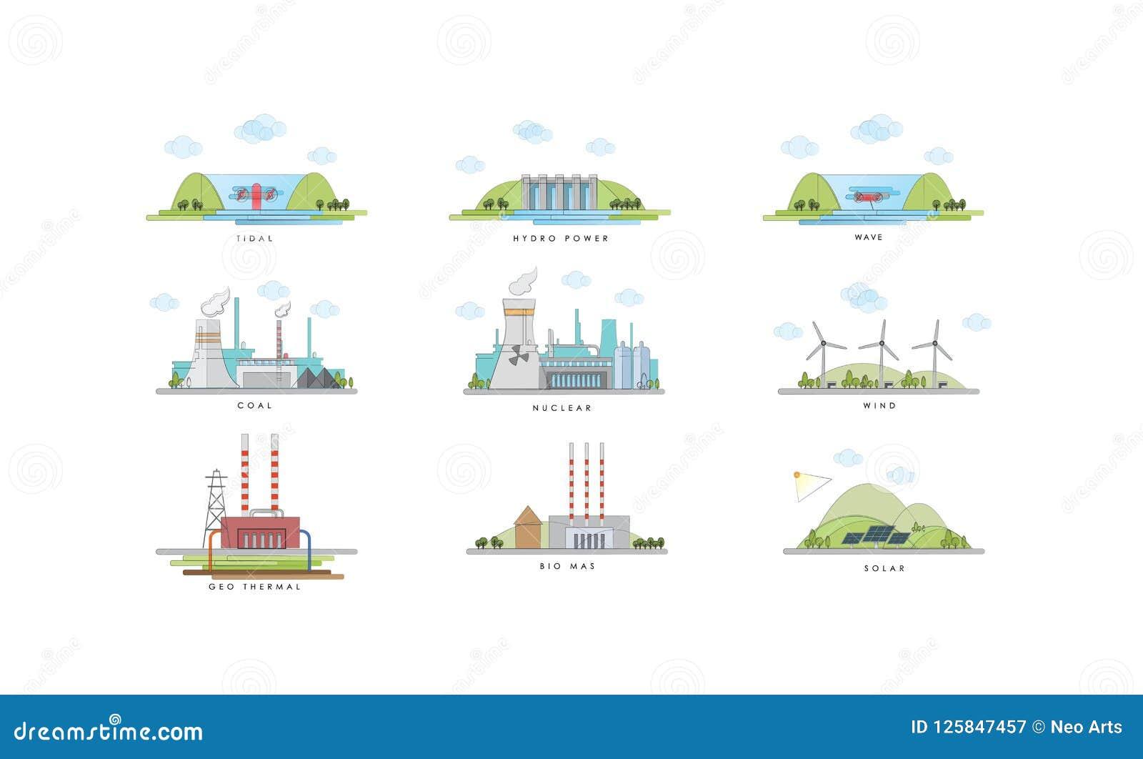 Illustration des elektrischen Kraftwerks