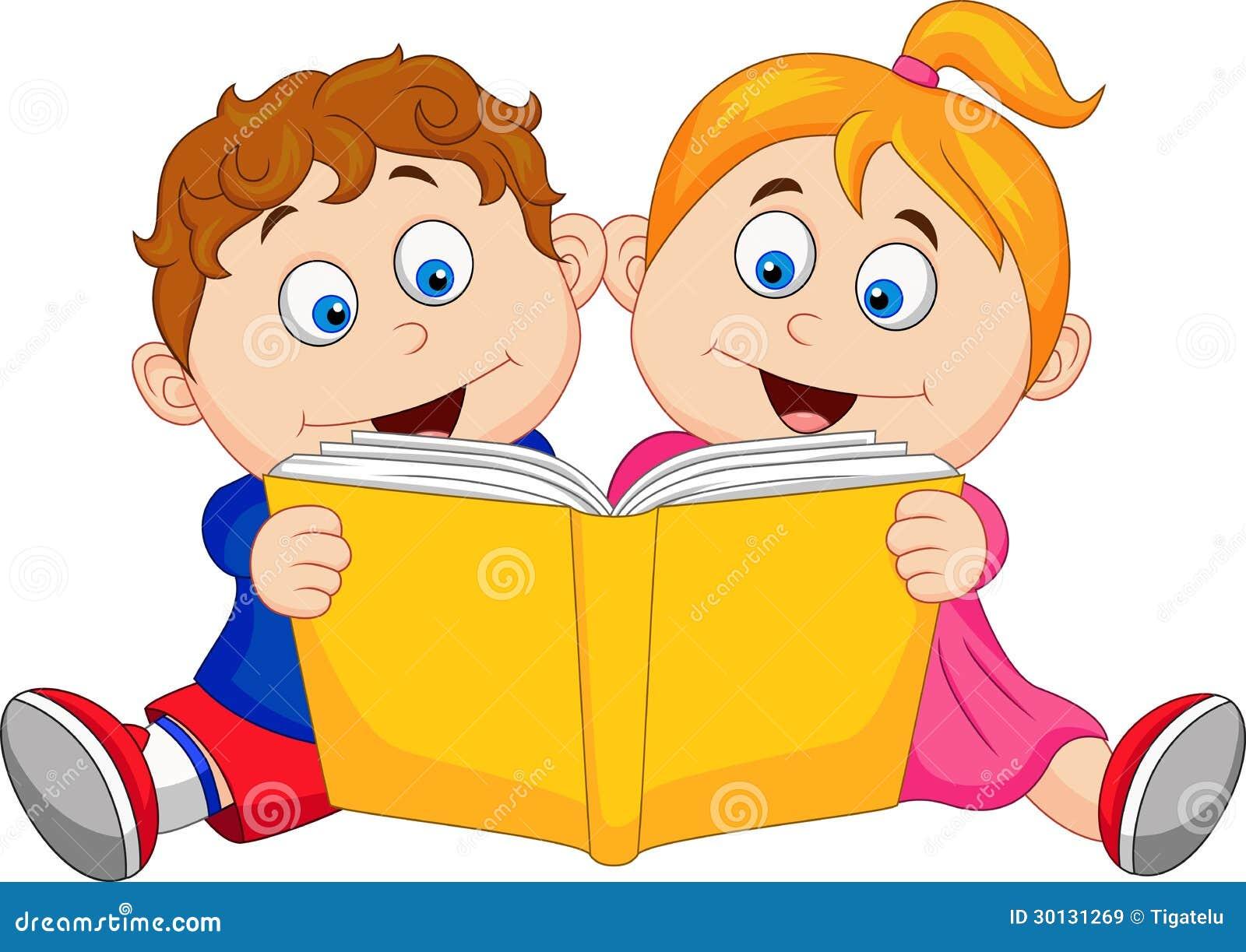 enfants lisant un livre illustration de vecteur illustration du cache 30131269. Black Bedroom Furniture Sets. Home Design Ideas