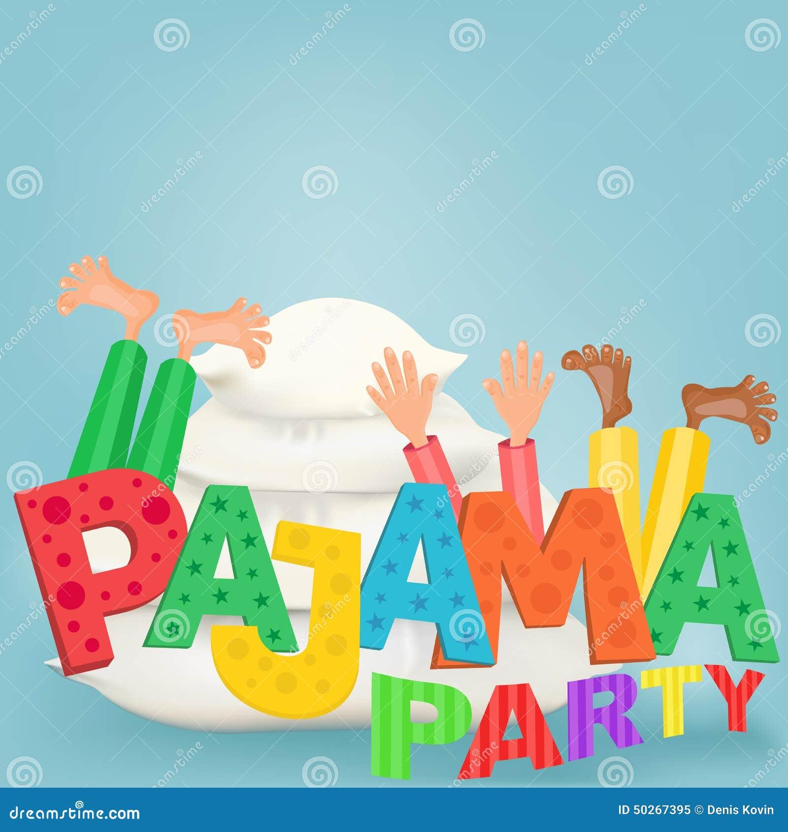 illustration des gar u00e7ons avec des oreillers ayant la Pajama Clip Art pajama pizza party clipart