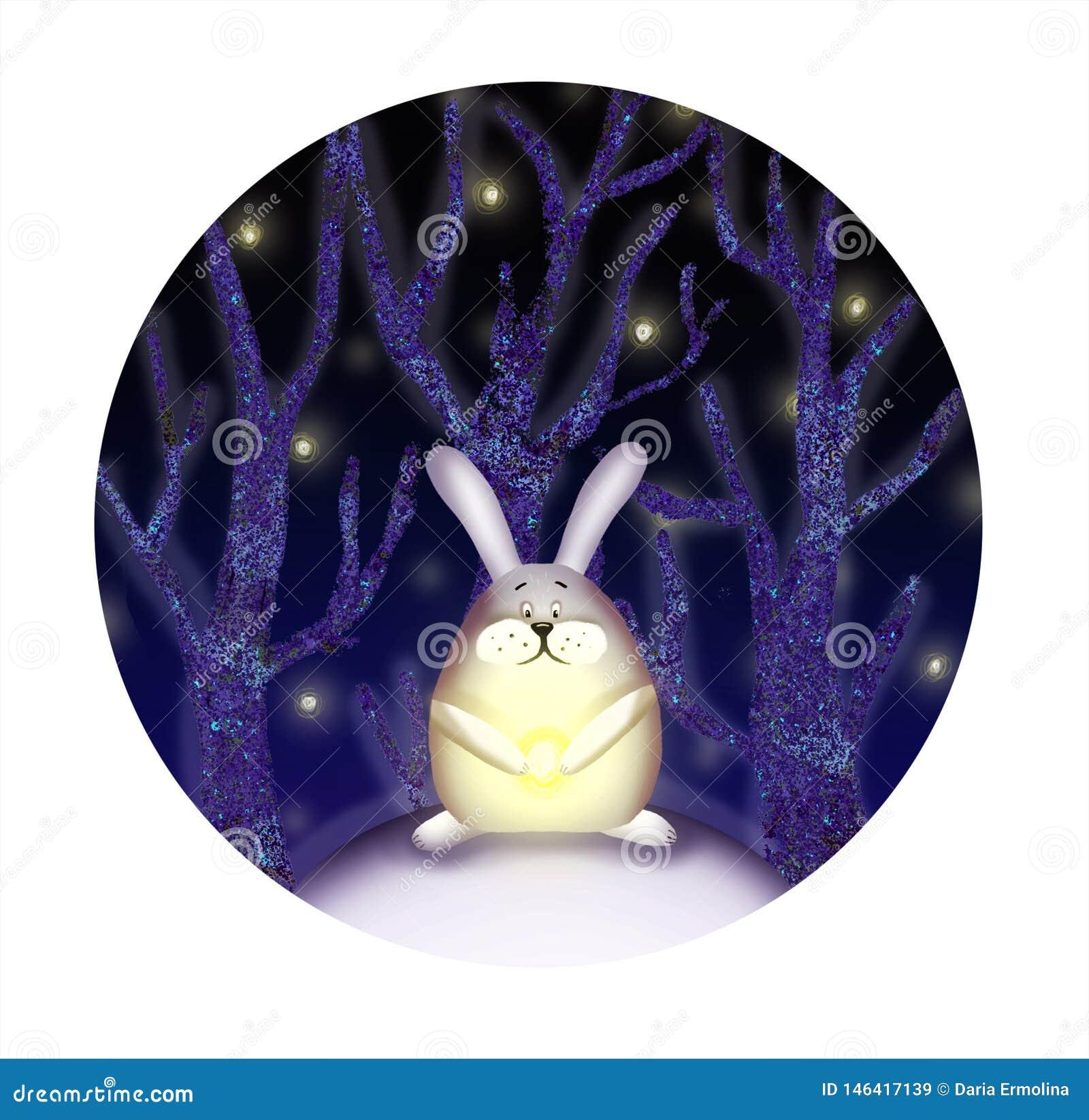 Illustration des Kaninchens im Wald