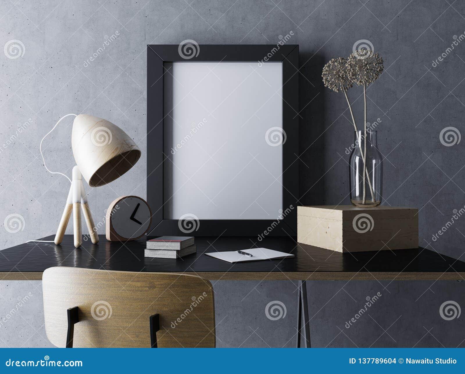 Illustration 3d des leeren Plakatinnenspotts des gemütlichen Designerarbeitsplatzes herauf Schablone mit dem vertikalen Rahmen, d