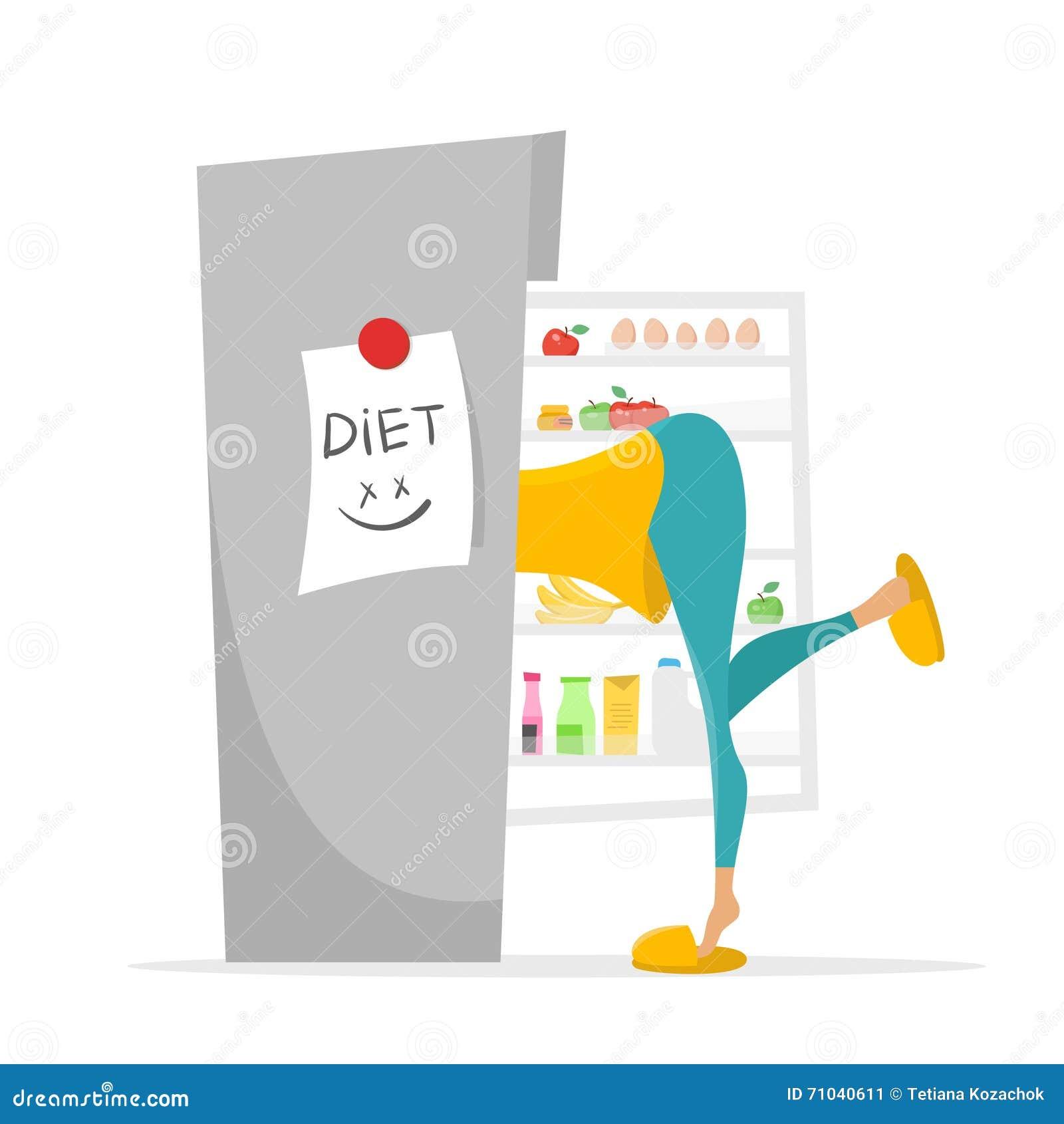 Illustration Des Mädchens Etwas Suchend, Im Kühlschrank Zu Essen ...