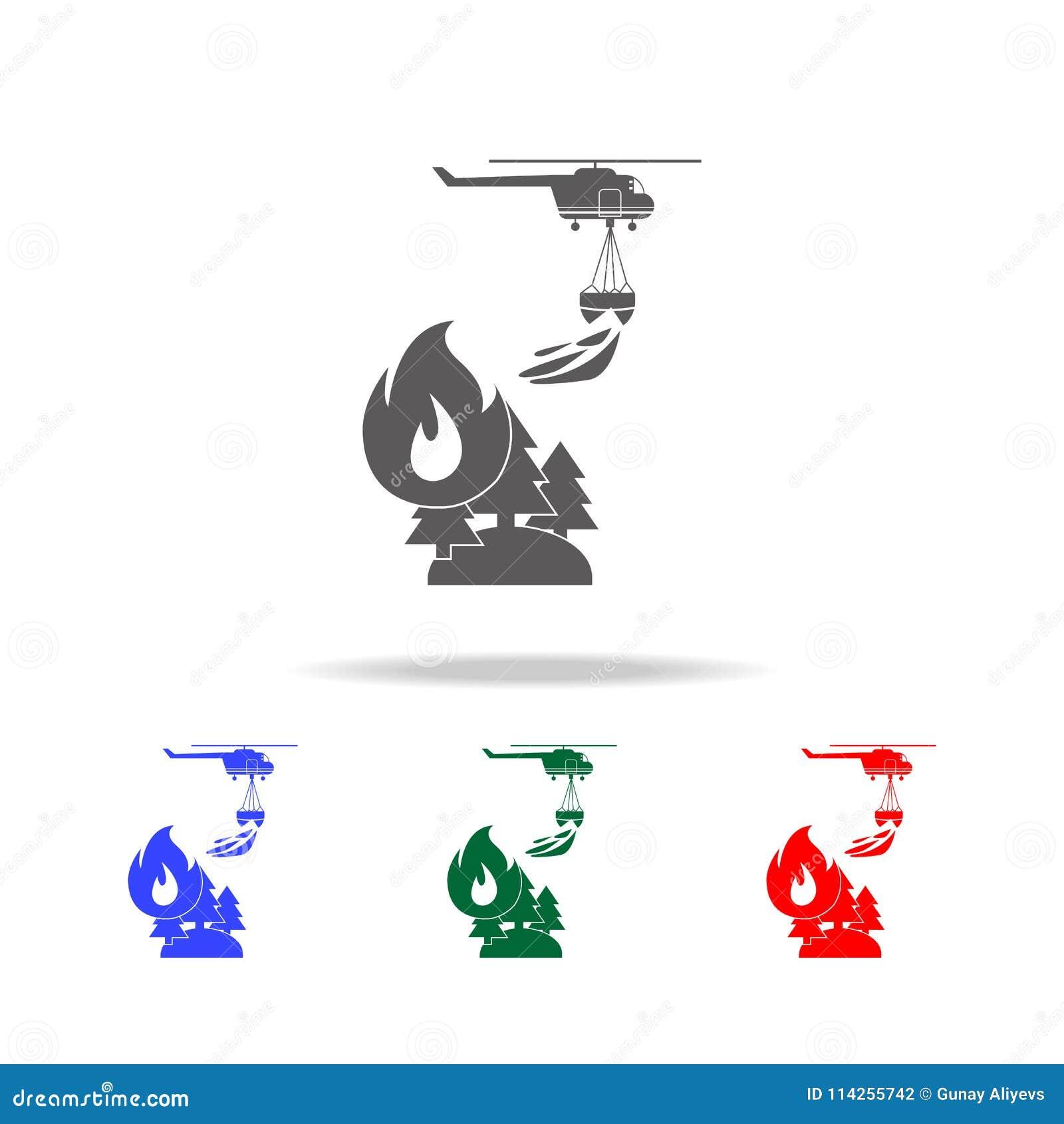 Illustration des Rettungswaldfeuerbekämpfenden Hubschraubers in der Luftikone Elemente von multi farbigen Ikonen des Feuerwehrman