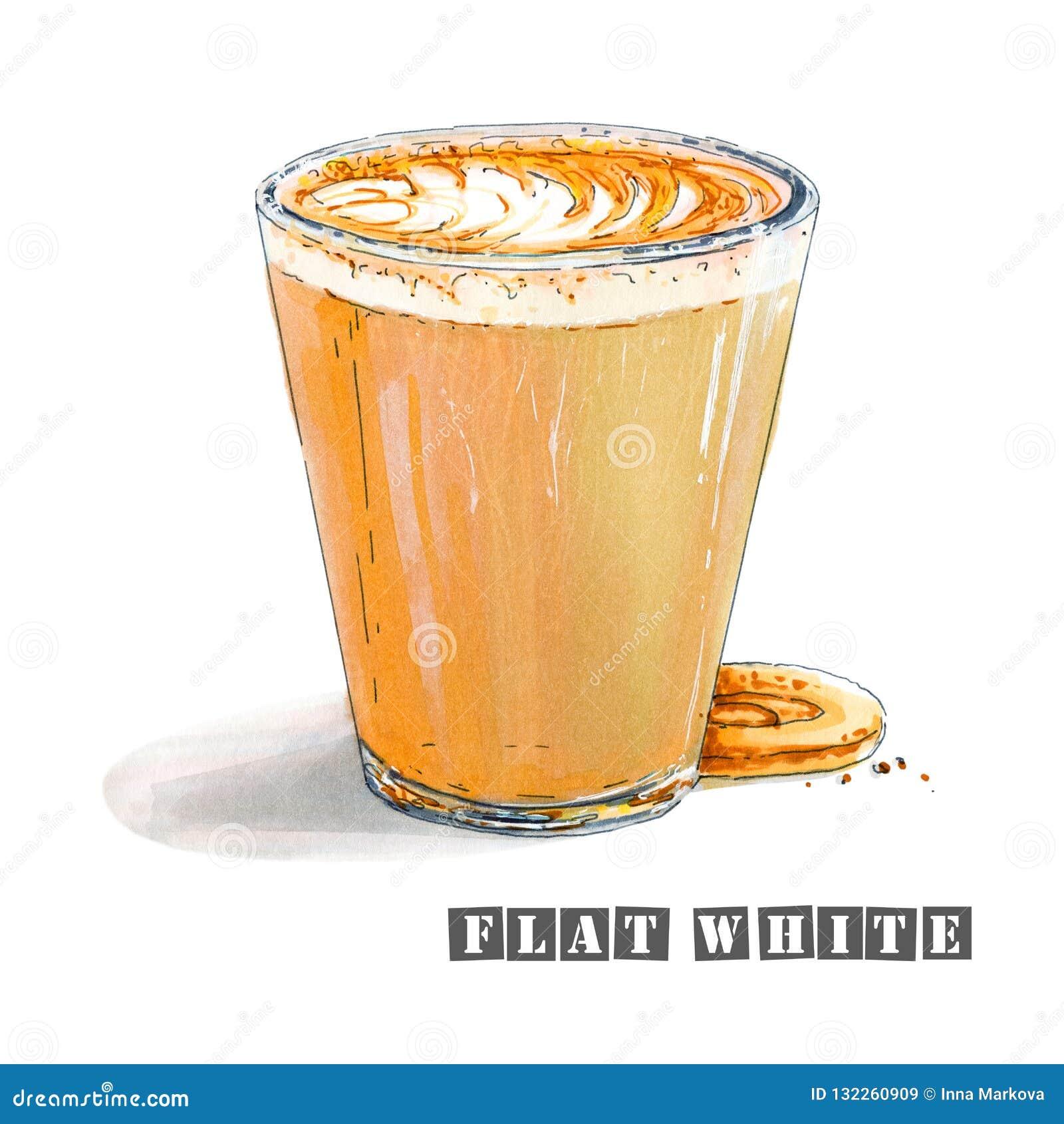 Illustration des süßen flachen Weiß mit einem köstlichen Schaum in einem transparenten Glas