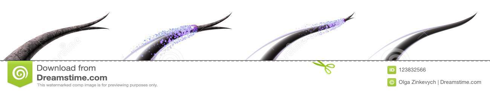 Illustration des soins capillaires 3D Traitant et empêchant les pointes fourchues des cheveux Réparation totale de la racine à in