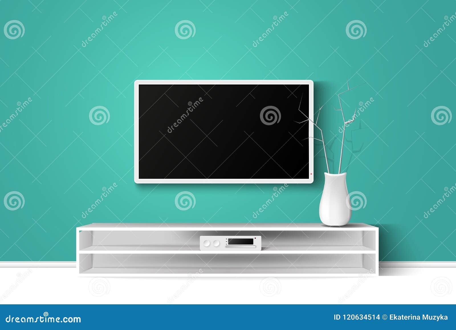 Illustration des Vektors 3d von LED-Fernsehstand auf einem Holztisch Moderne Innenarchitektur des Hauswohnzimmers kopieren Sie Ra