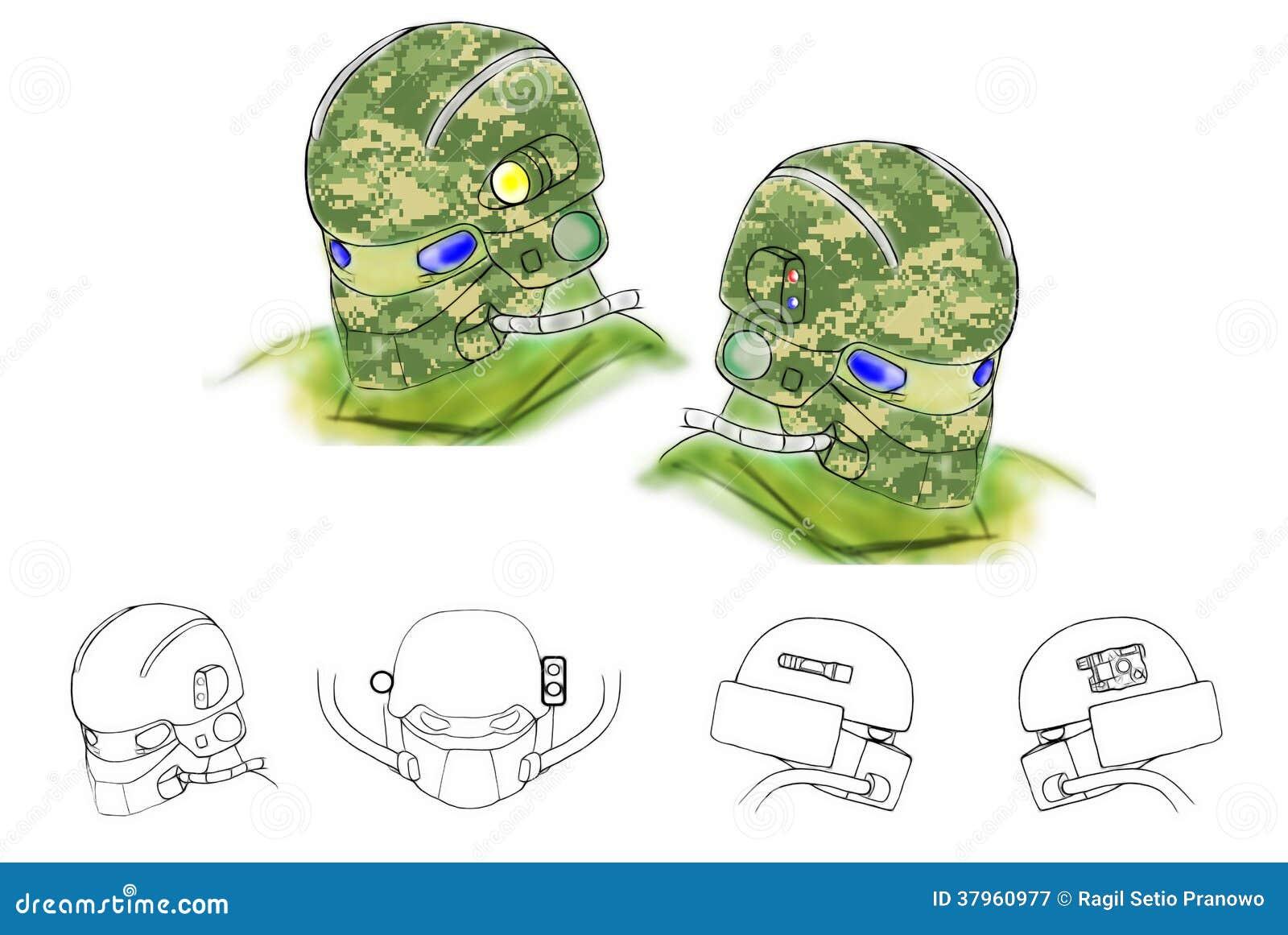 Illustration des zukünftigen begrifflichsturzhelms