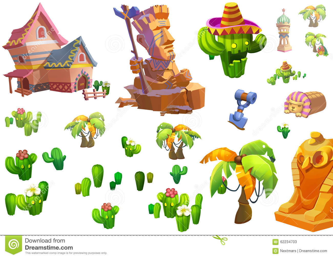 Illustration desert theme elements design game assets for Realistic house design games