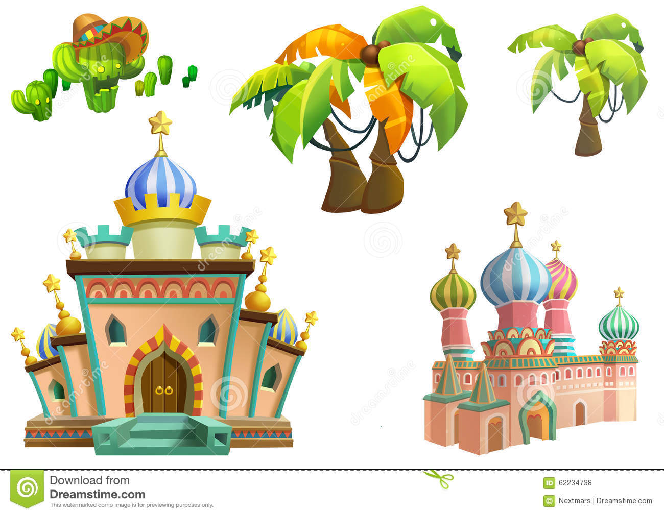 Illustration Desert Theme Elements Design Set 3 Game Assets The House The Tree The Cactus