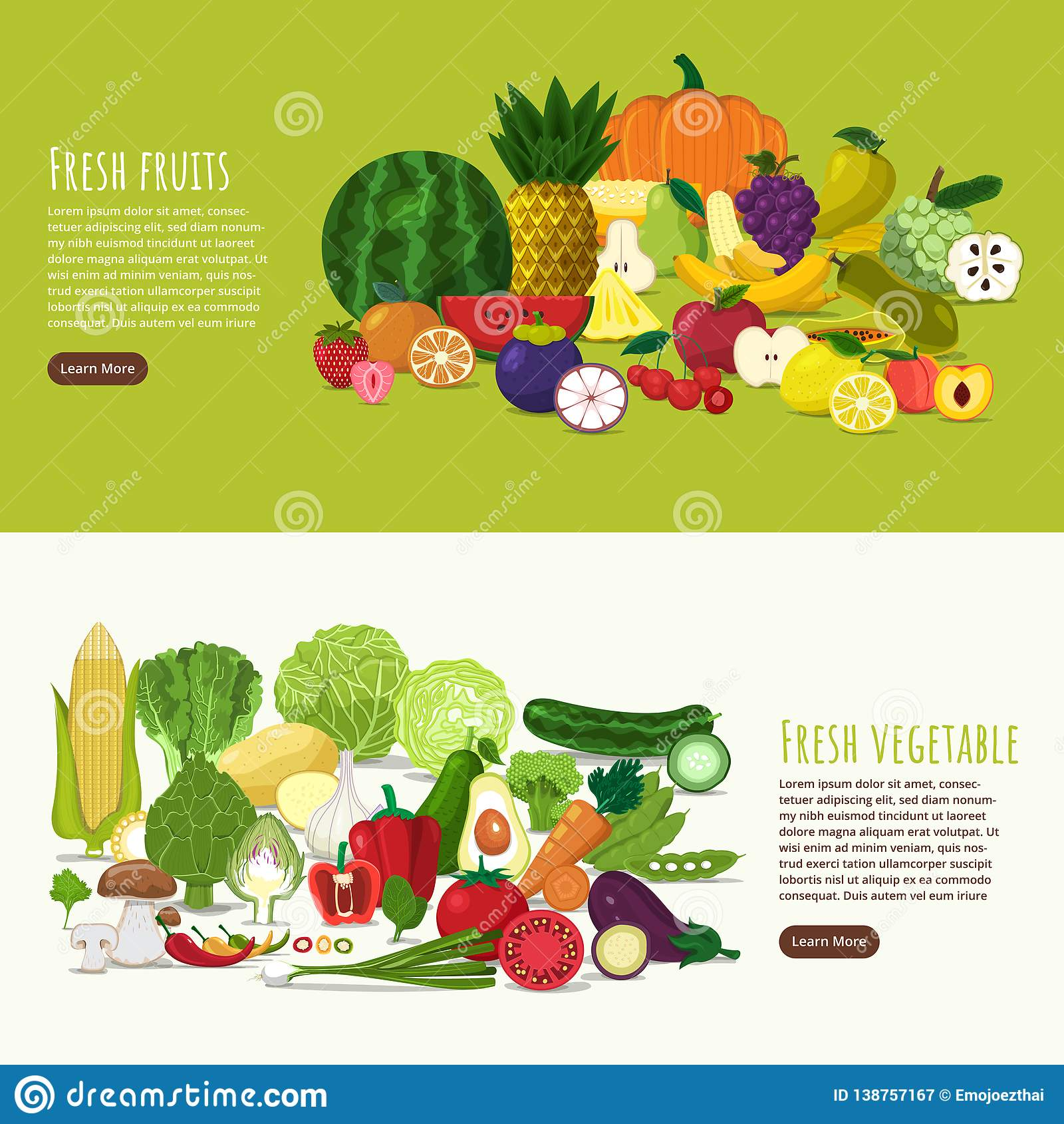 0bf191760dc Illustration design concept healthy foods as fresh fruits and fresh  vegetables.