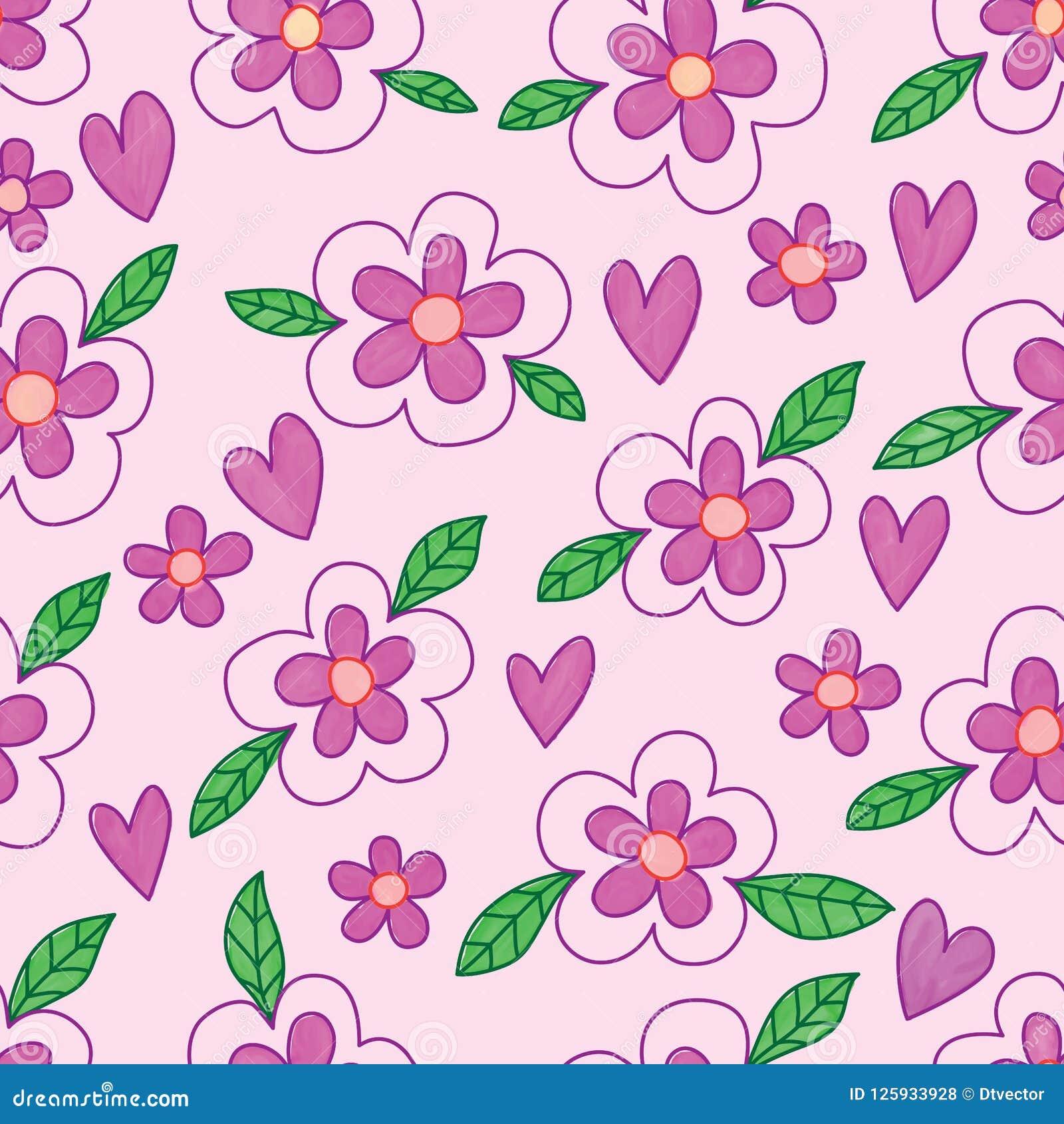 Flower leaf batik purple love watercolor seamless pattern