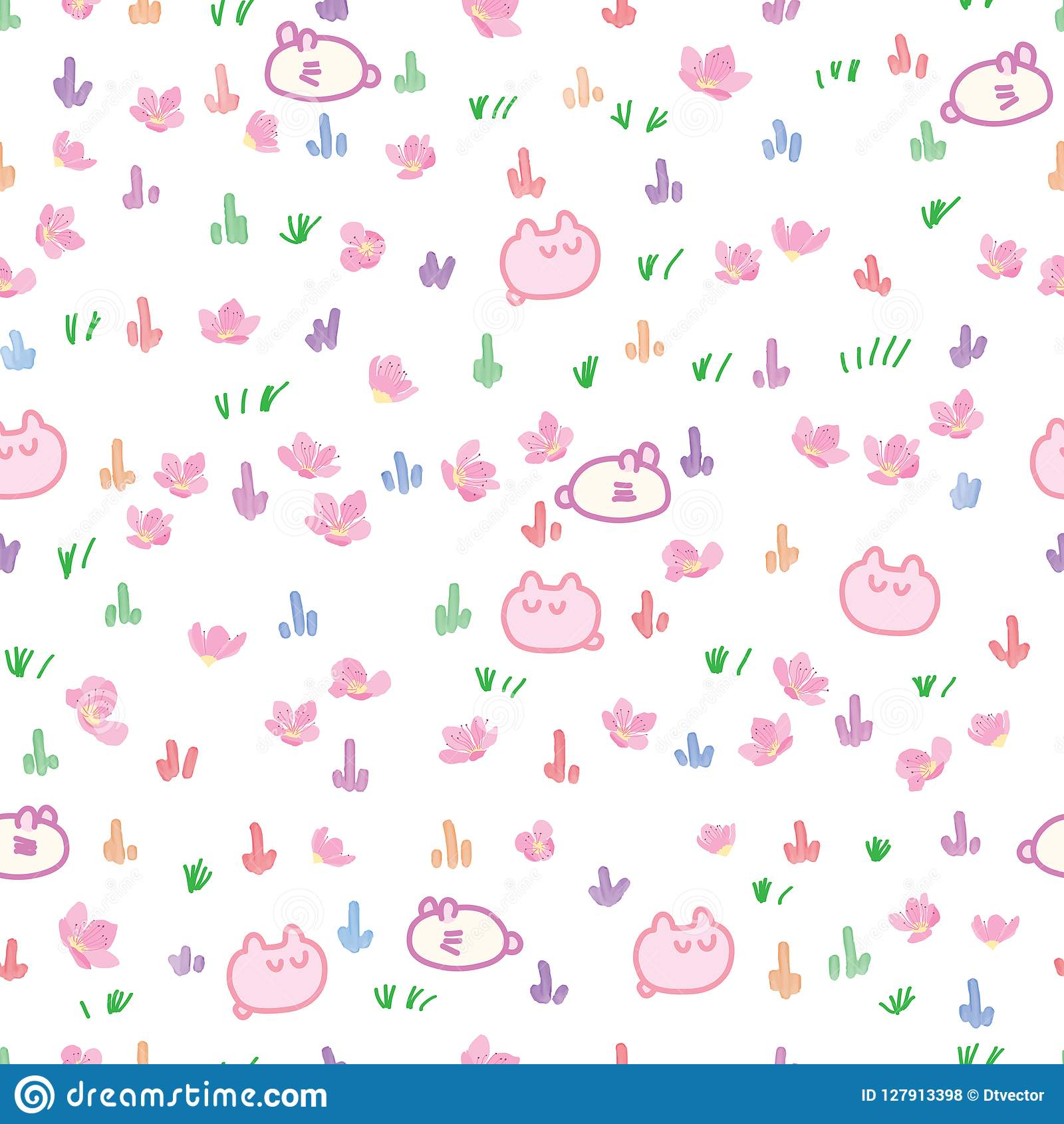 Japan grasses cherry cartoon watercolor seamless pattern