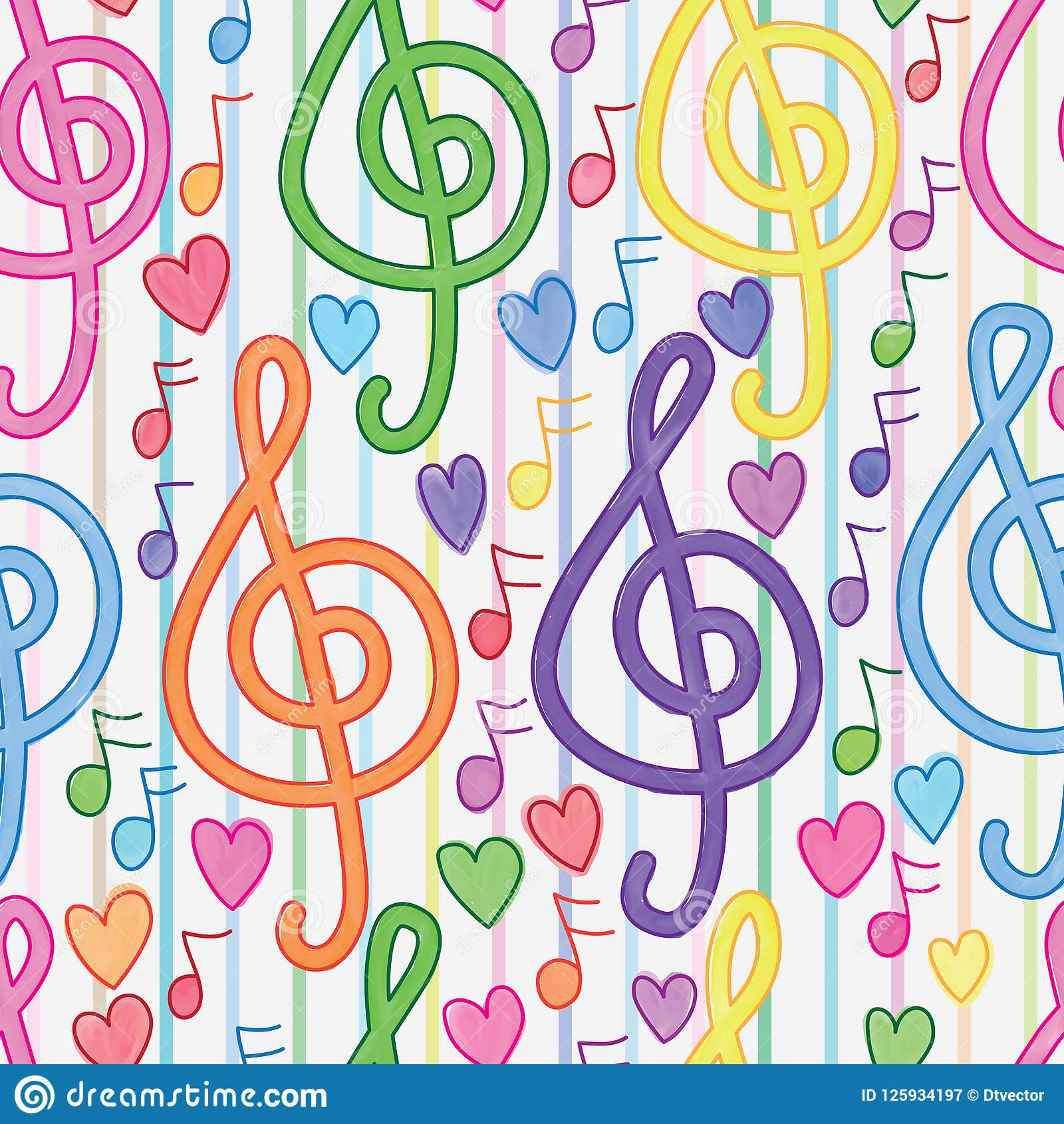 Music note vertical line watercolor seamless pattern