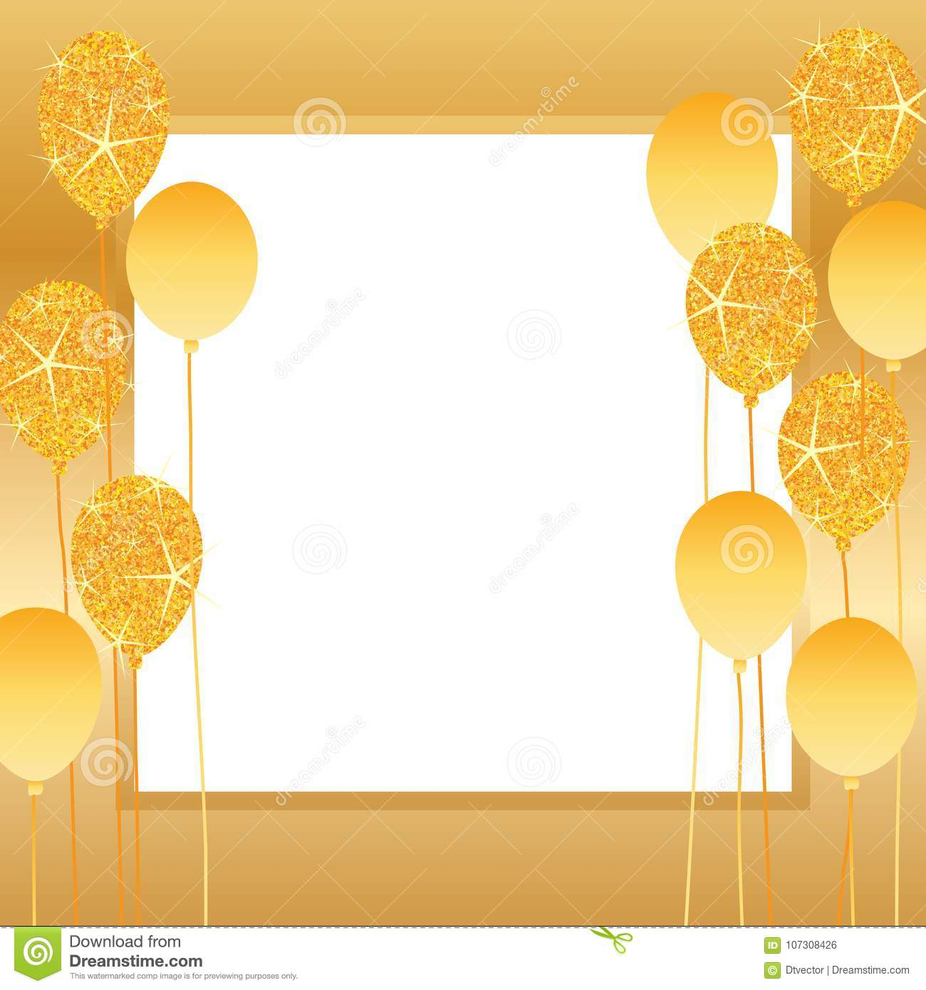 Royalty Free Vector Download Golden Glitter Balloon Frame Stock