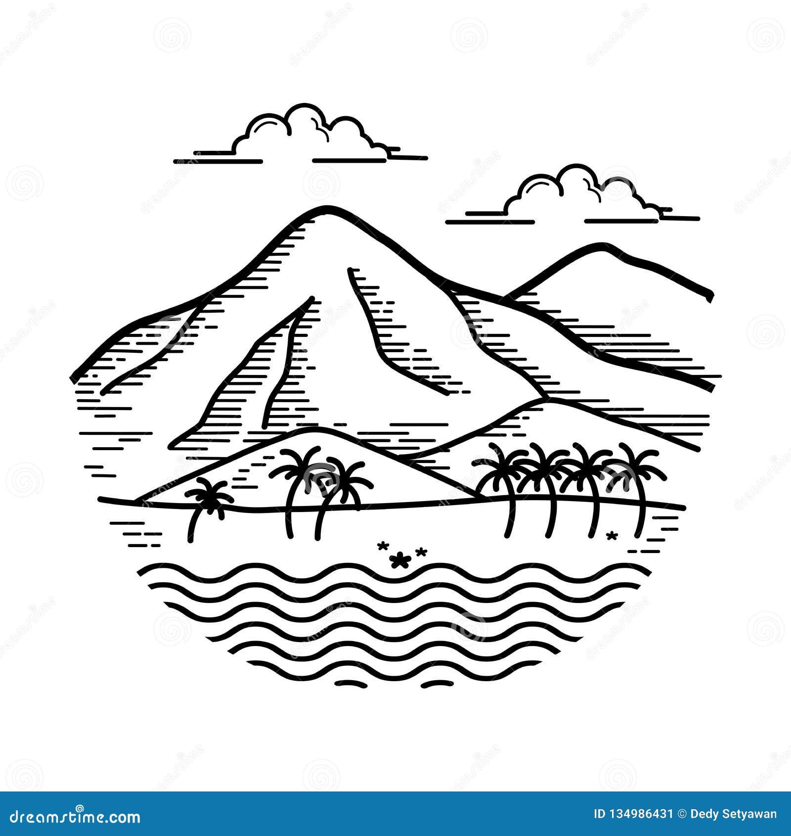 Illustration Design Of The Island Stock Vector