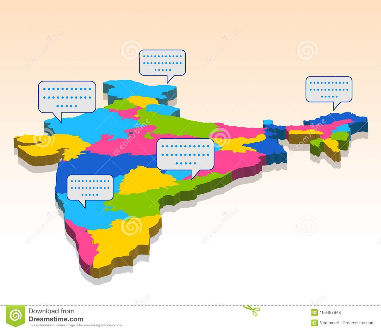 Boundary Map Of Asia.Detailed 3d Map Of India Asia With All States And Country Boundary