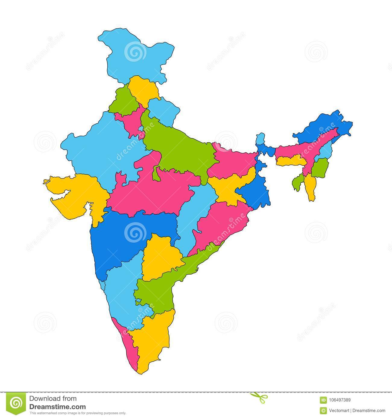 Boundary Map Of Asia.Detailed Map Of India Asia With All States And Country Boundary