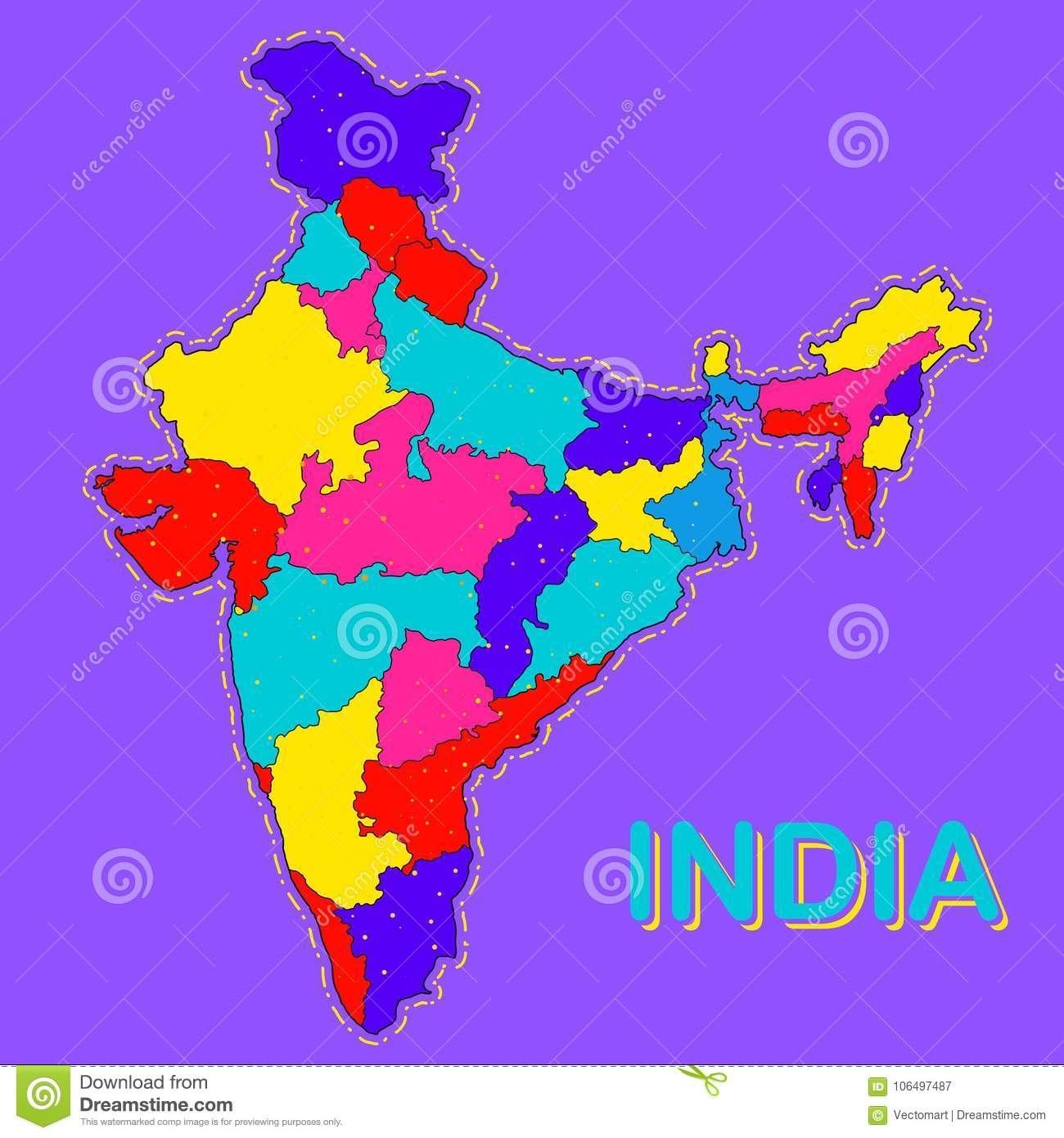 Detailed Map Of India, Asia With All States And Country ...