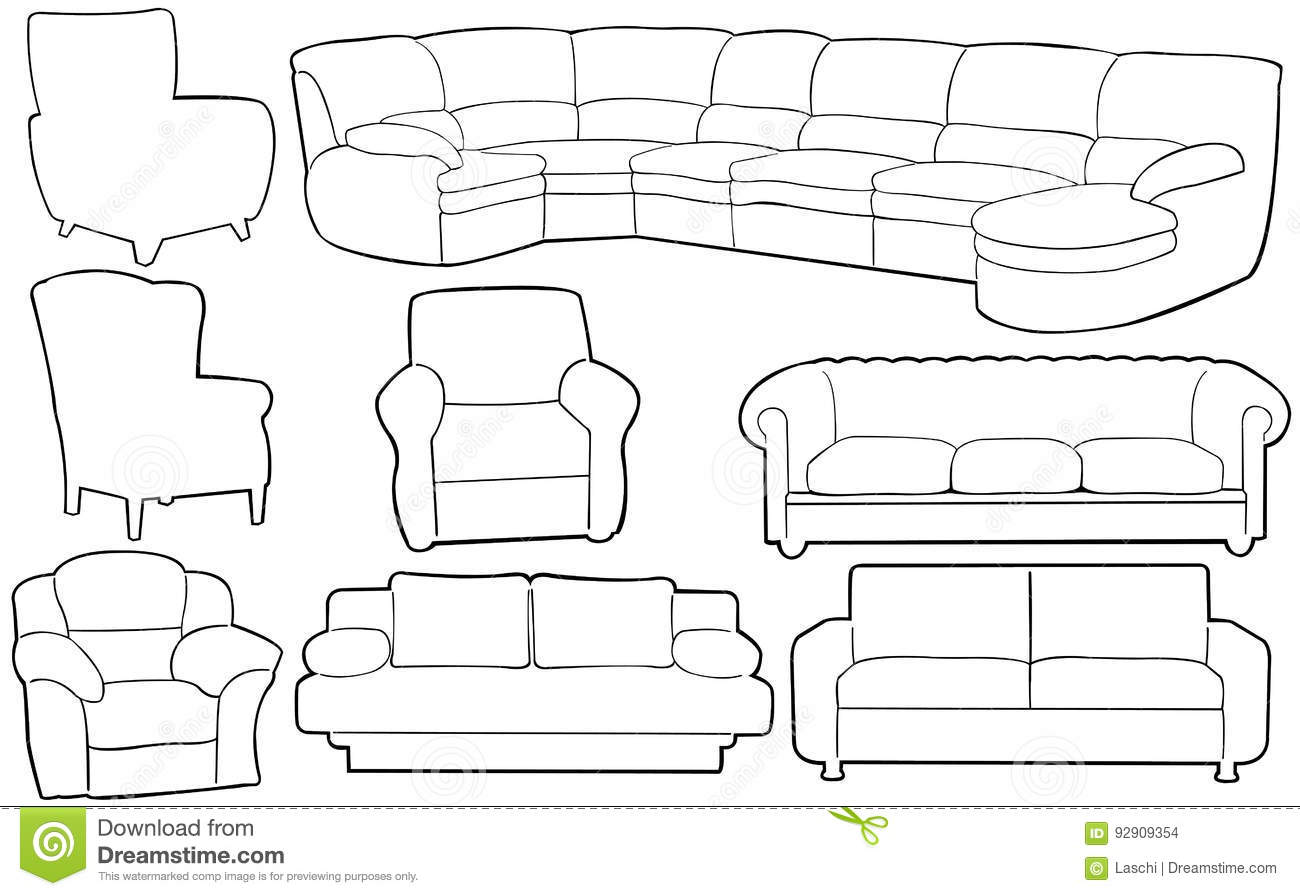 Different Couches illustration of different couches stock vector - image: 92909354