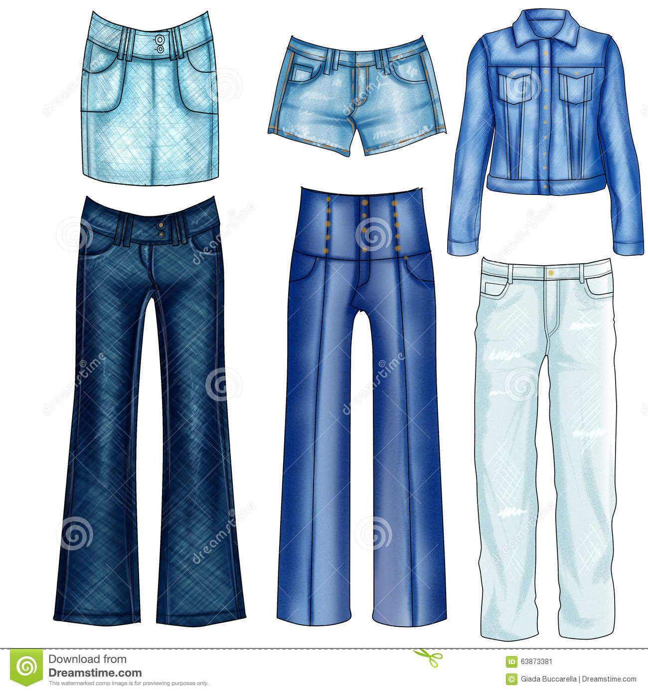 illustration of different denim and jeans clothes stock