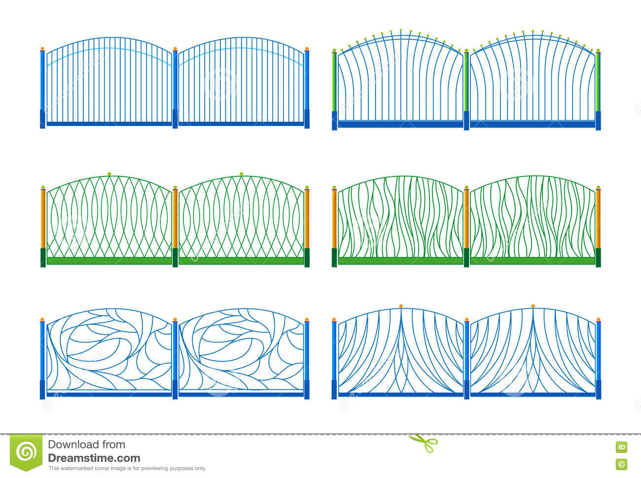 Illustration of the different designs of fences stock for Different wallpaper designs