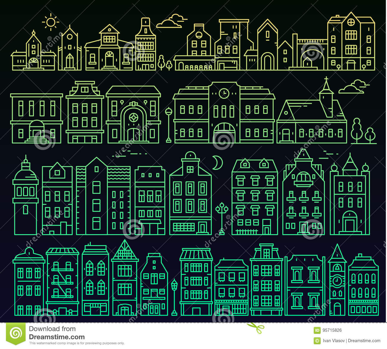 Illustration Of Different European Detailed Buildings On Black B ...