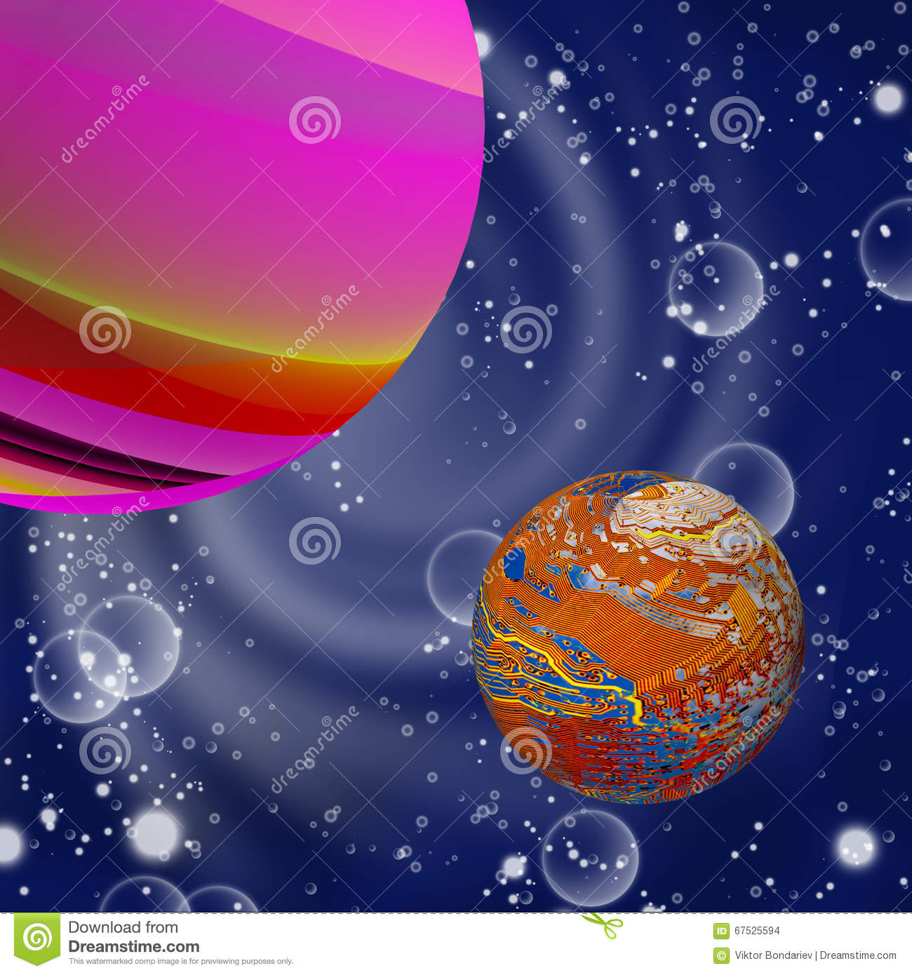 Illustration of different planets in outer space close up for 3d map of outer space