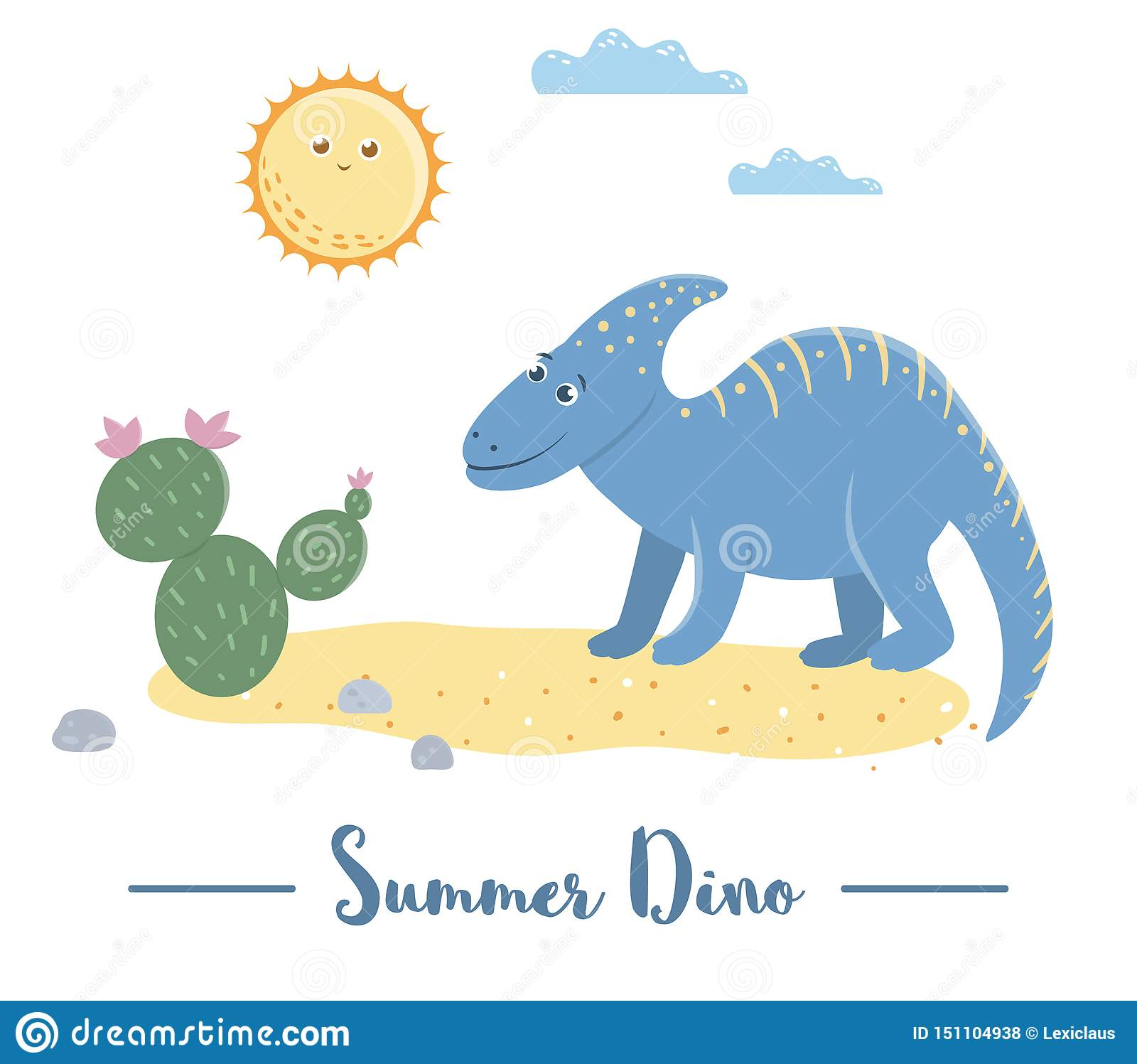 Illustration Of Dino In A Desert Under The Sun With Cactus Summer Scene With Cute Dinosaur Funny Prehistoric Reptiles Print For Stock Vector Illustration Of Dinosaur Parasaurolophus 151104938
