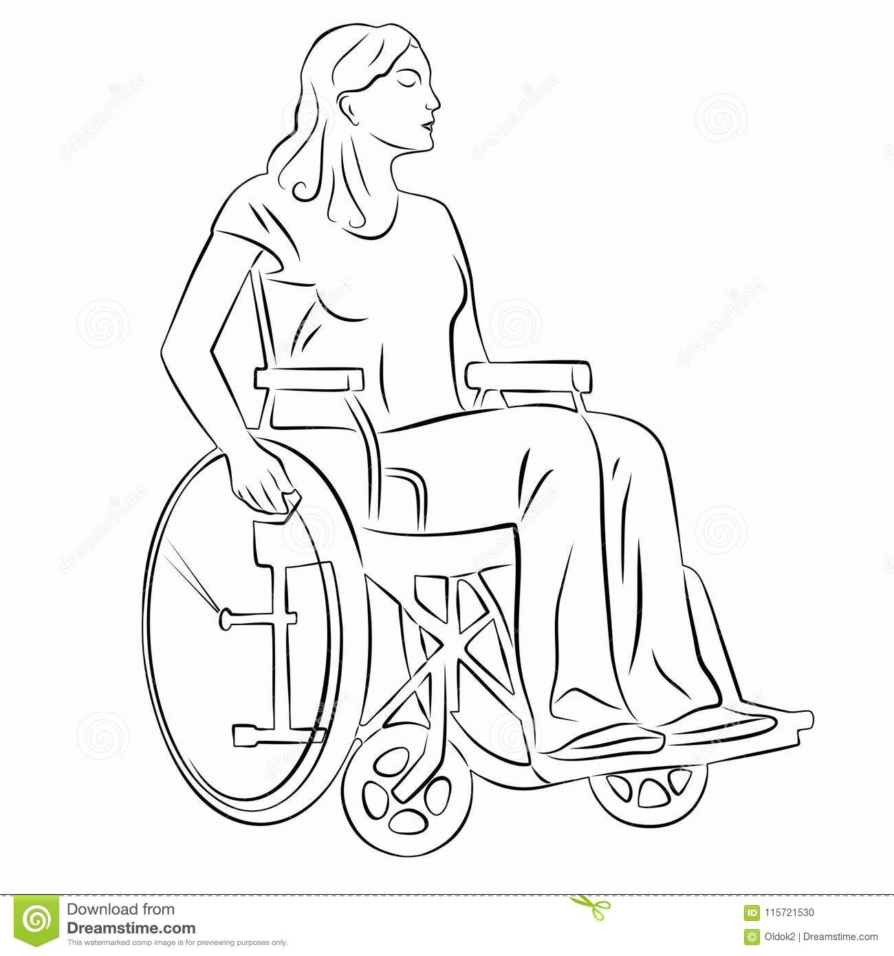 Illustration Of A Disabled Person In Wheelchair Vector Draw