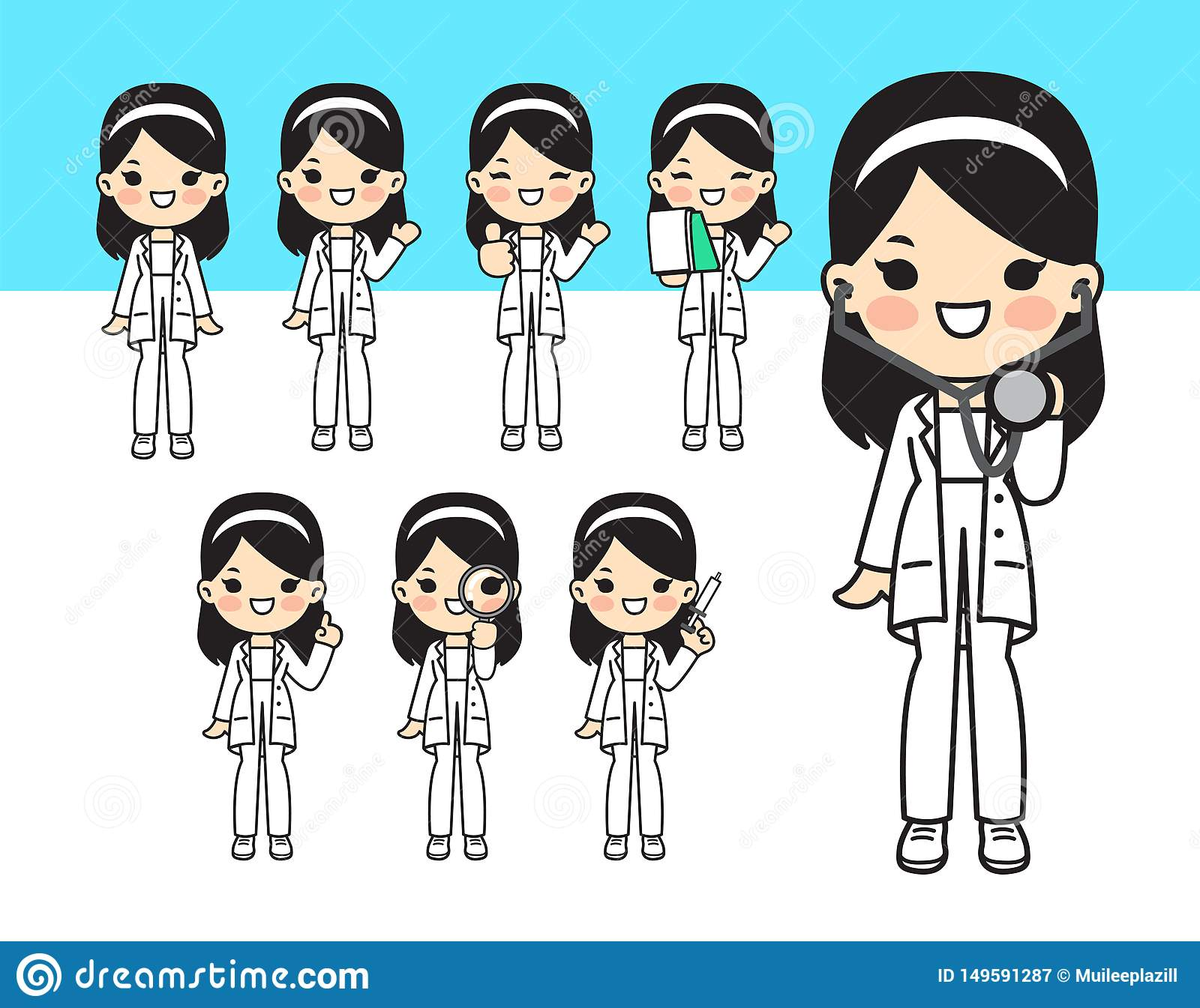 Illustration for doctor.Cute style