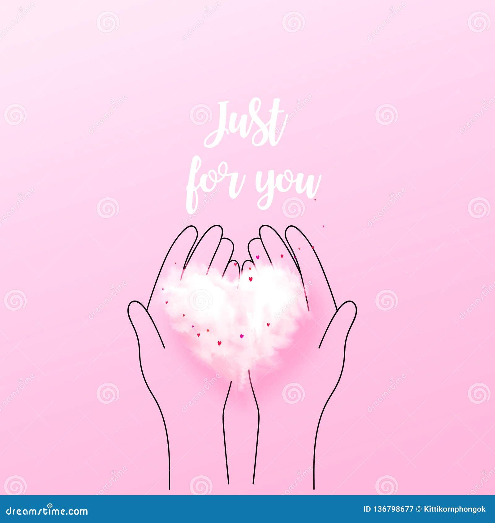 Illustration of doodle hands holding 3D heart cloud. Love concept, Valentine`s day background. Vector illustration. Wallpaper,