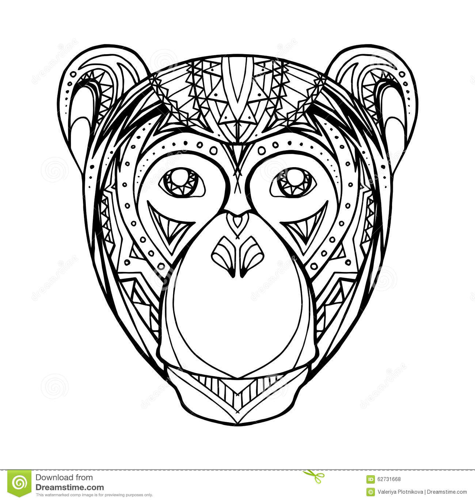Illustration Doodle Monkey And Boho Pattern Stock Vector ...