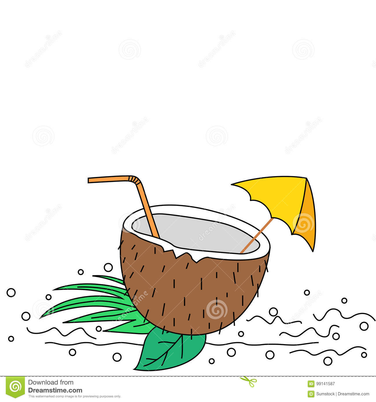 Download Illustration Of Doodle Style Coconut Drink Stock Vector
