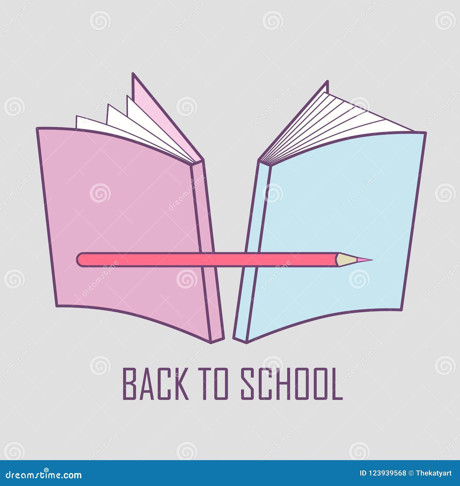 Illustration douce de logo représentant de nouveau à l école Image de vecteur de substance d école : livres et crayon