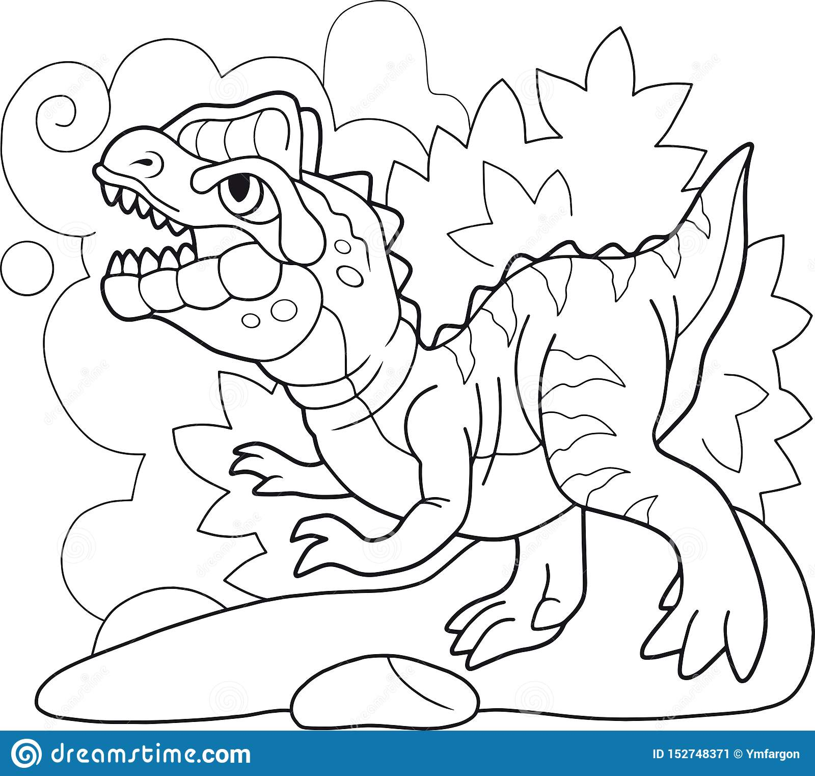 Illustration Drole De Dinosaure De Livre De Coloriage
