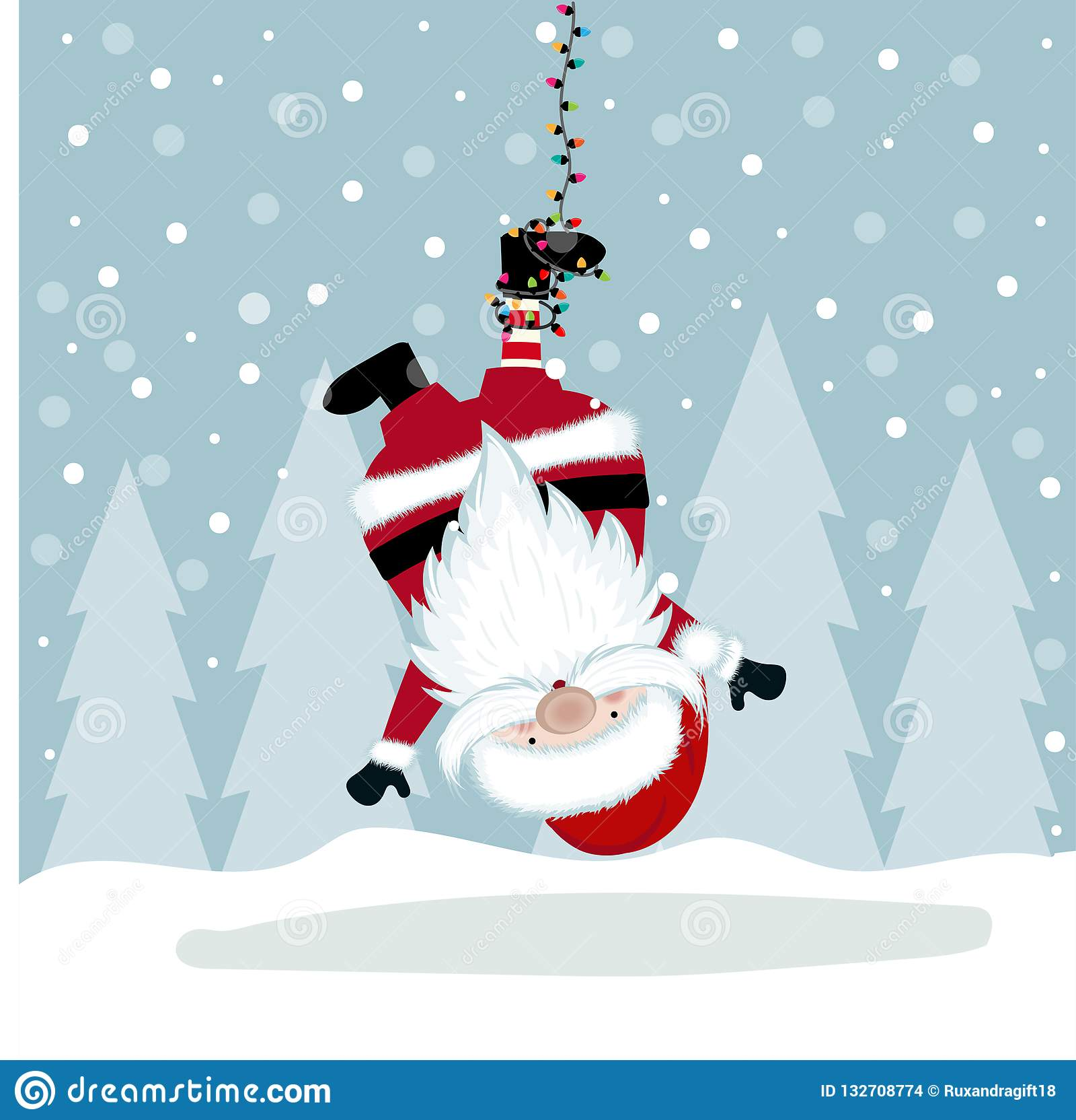 Illustration Drole De Noel Avec Accrocher Santa Illustration De Vecteur Illustration Du Drole Noel 132708774