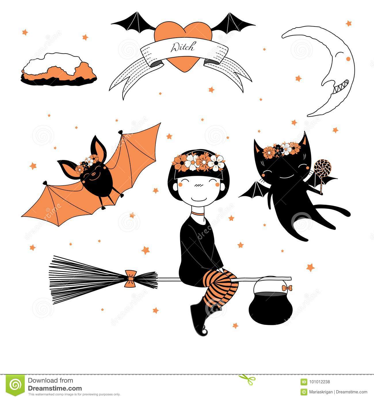 Illustration dr le de sorci re de batte et de chat - Image halloween drole ...