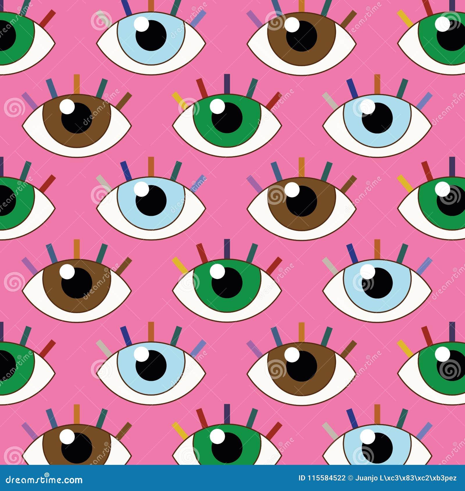 Illustration drôle des yeux sans couture avec le regard fixe fixe