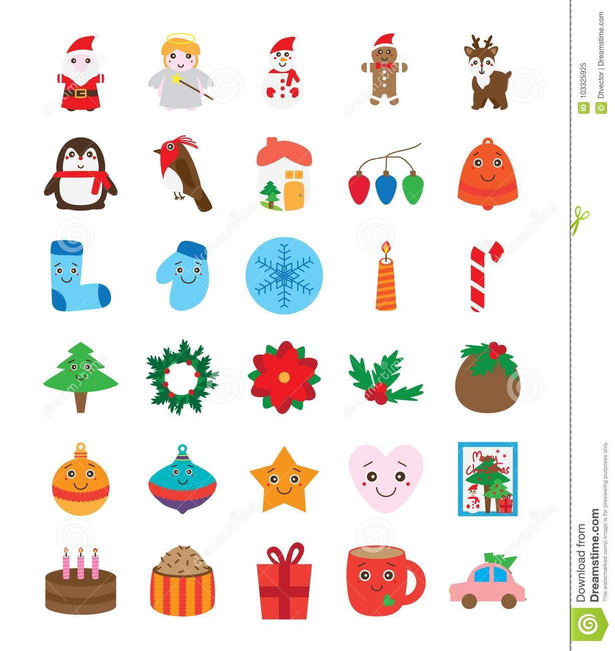 Christmas Day Drawing.Christmas Day Isolated Collection Set Many Stock Vector